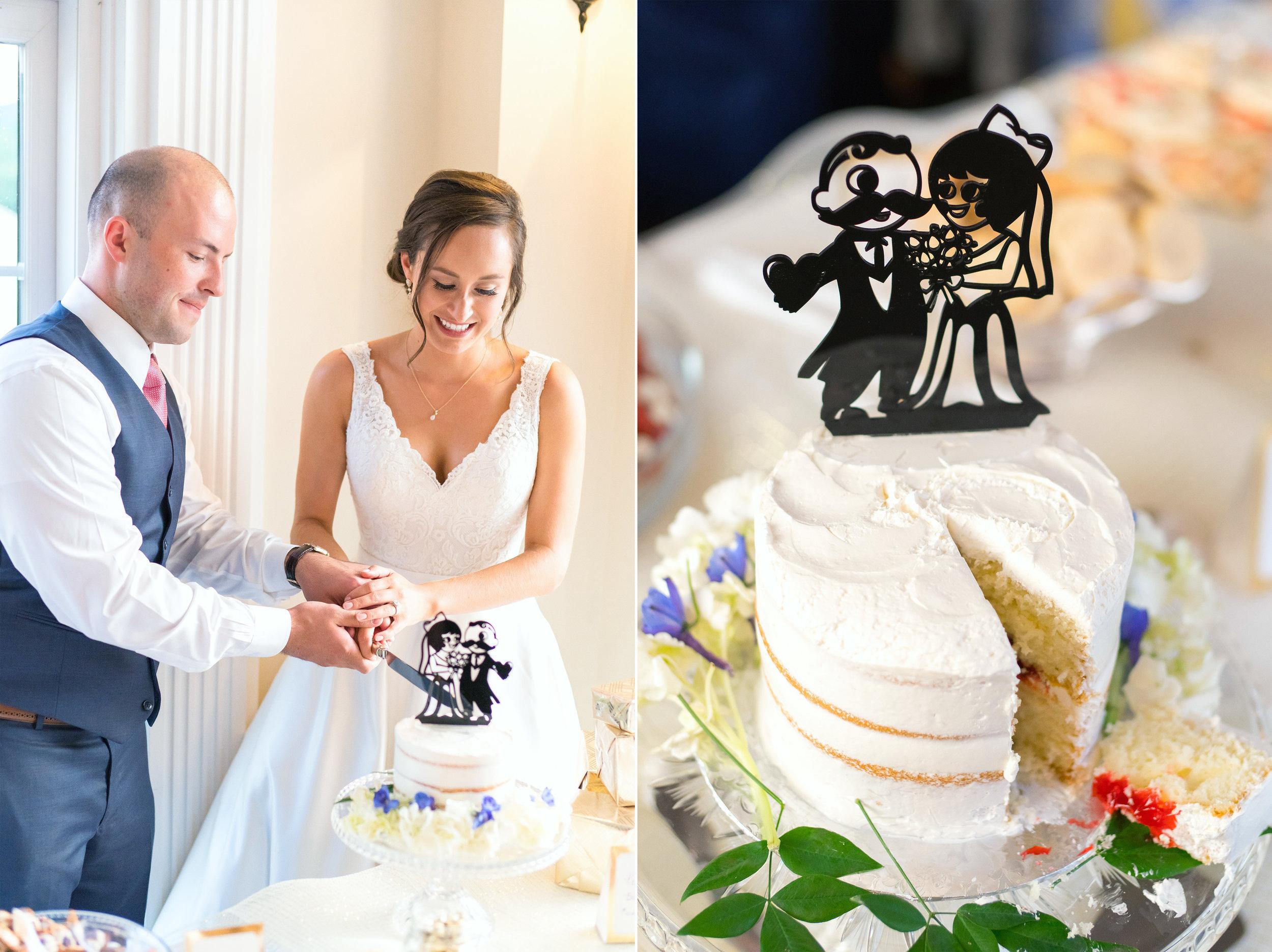 Cake cutting at beautiful maryland wedding venue
