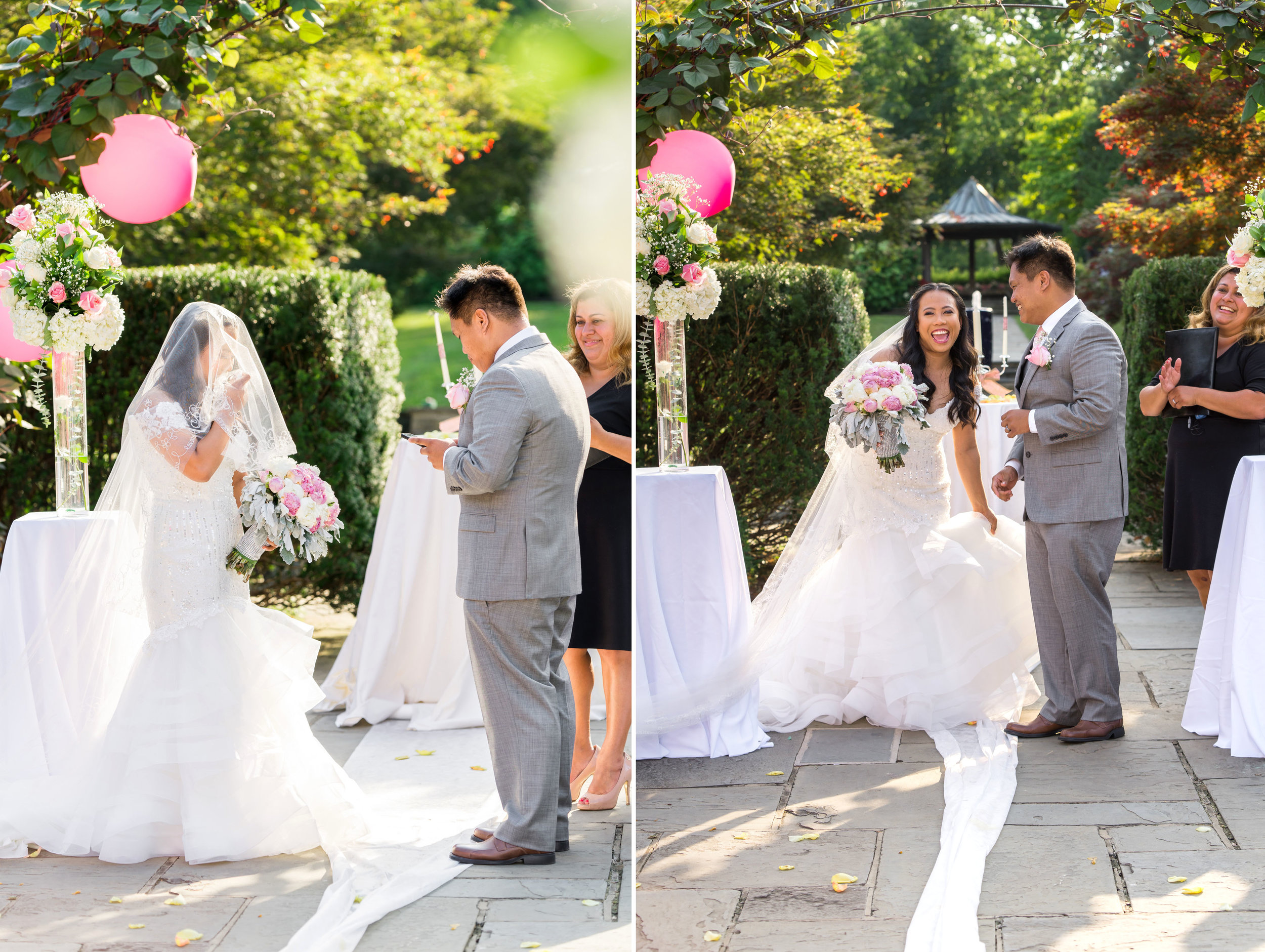 Bride and groom wedding photos at Brookside
