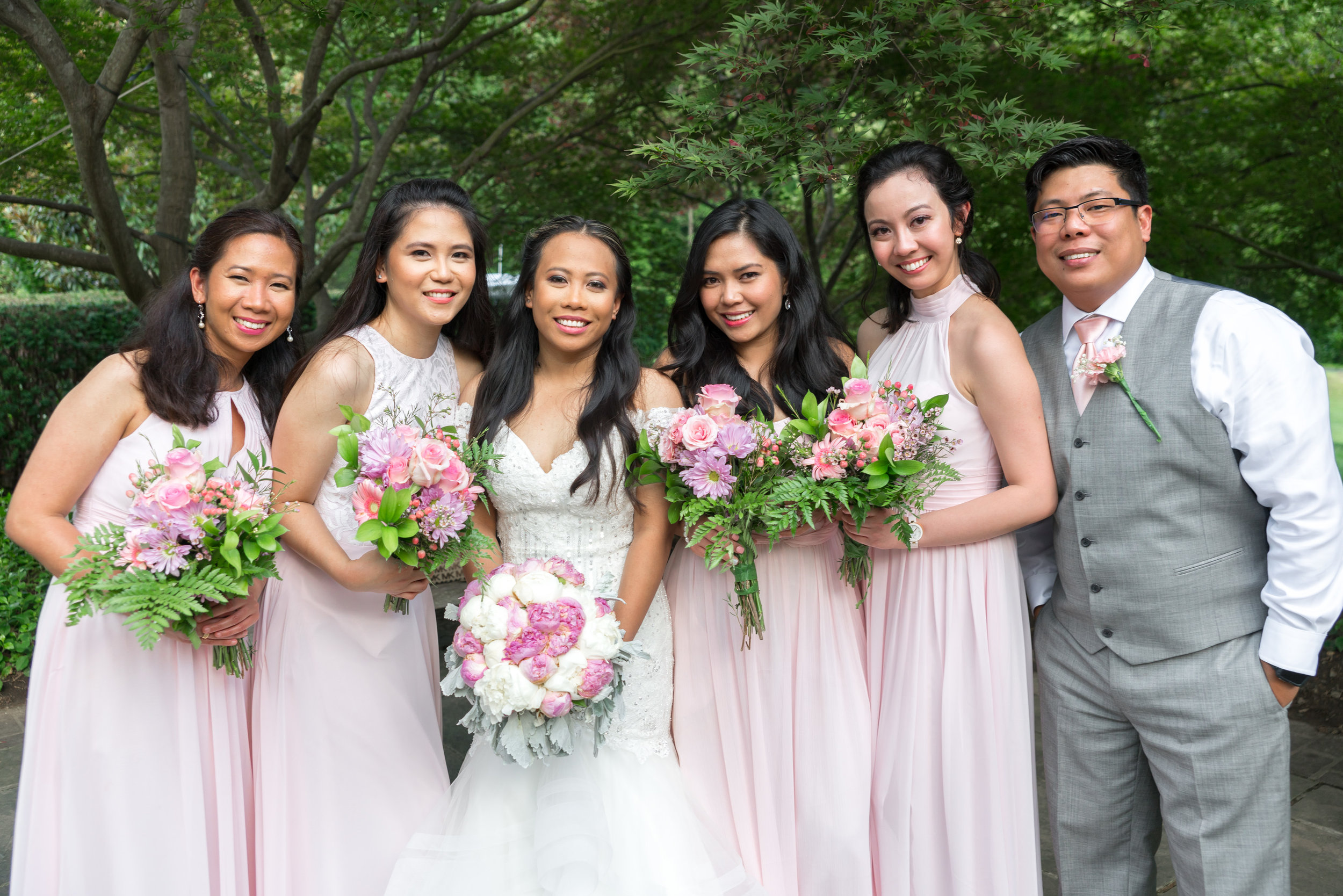 Bride and bridesmaids at Brookside Gardens