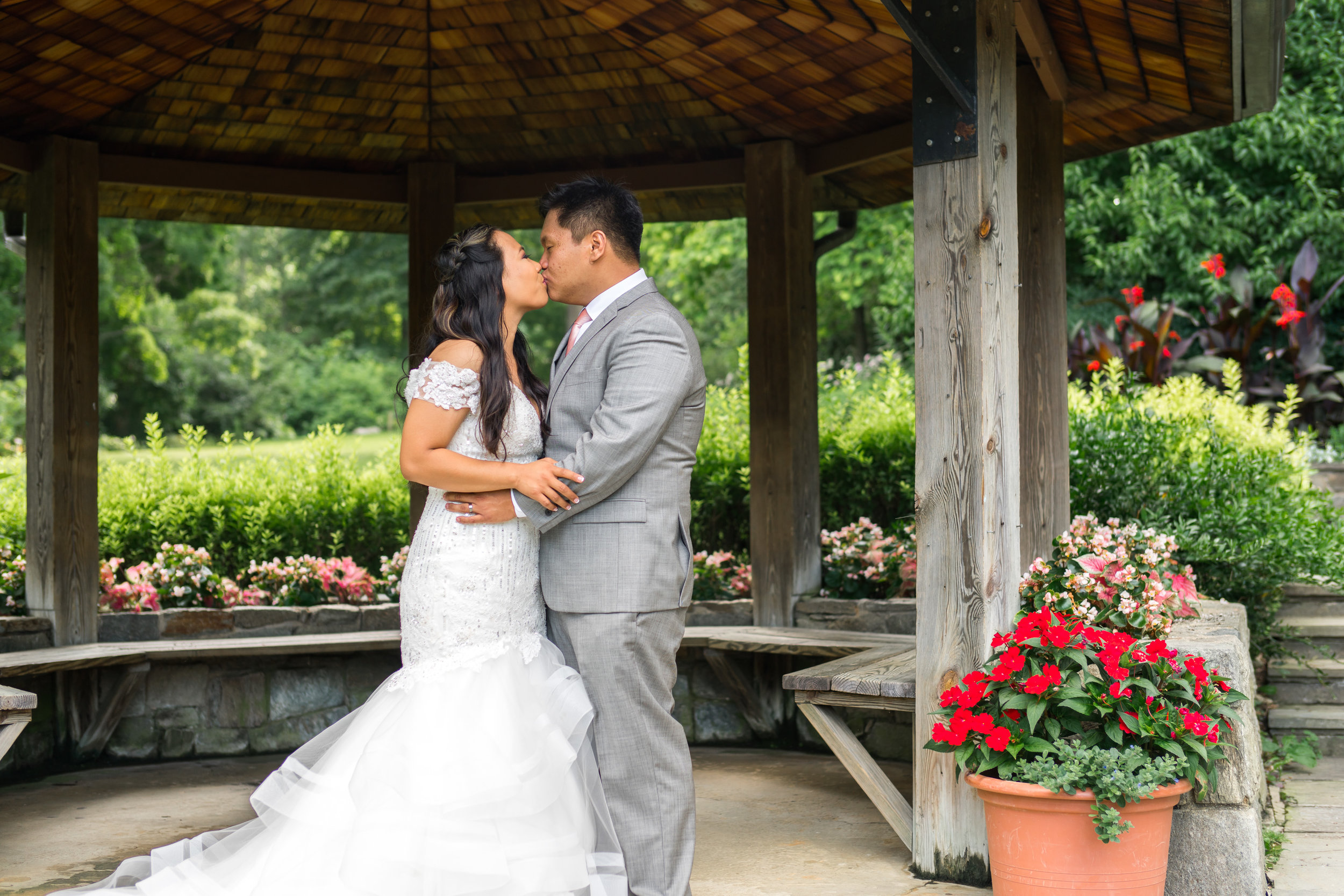 Bride and groom at Brookside Gardens