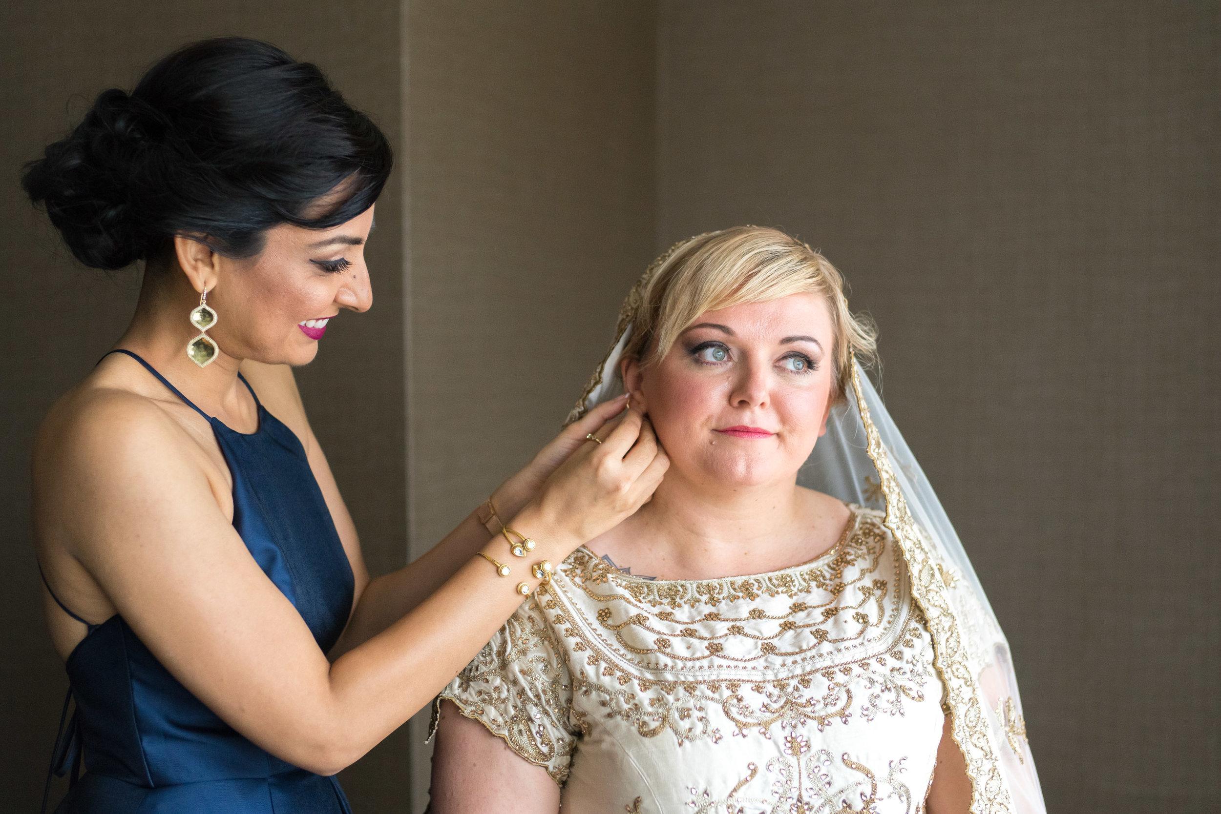 bride and bridesmaid photos in virginia