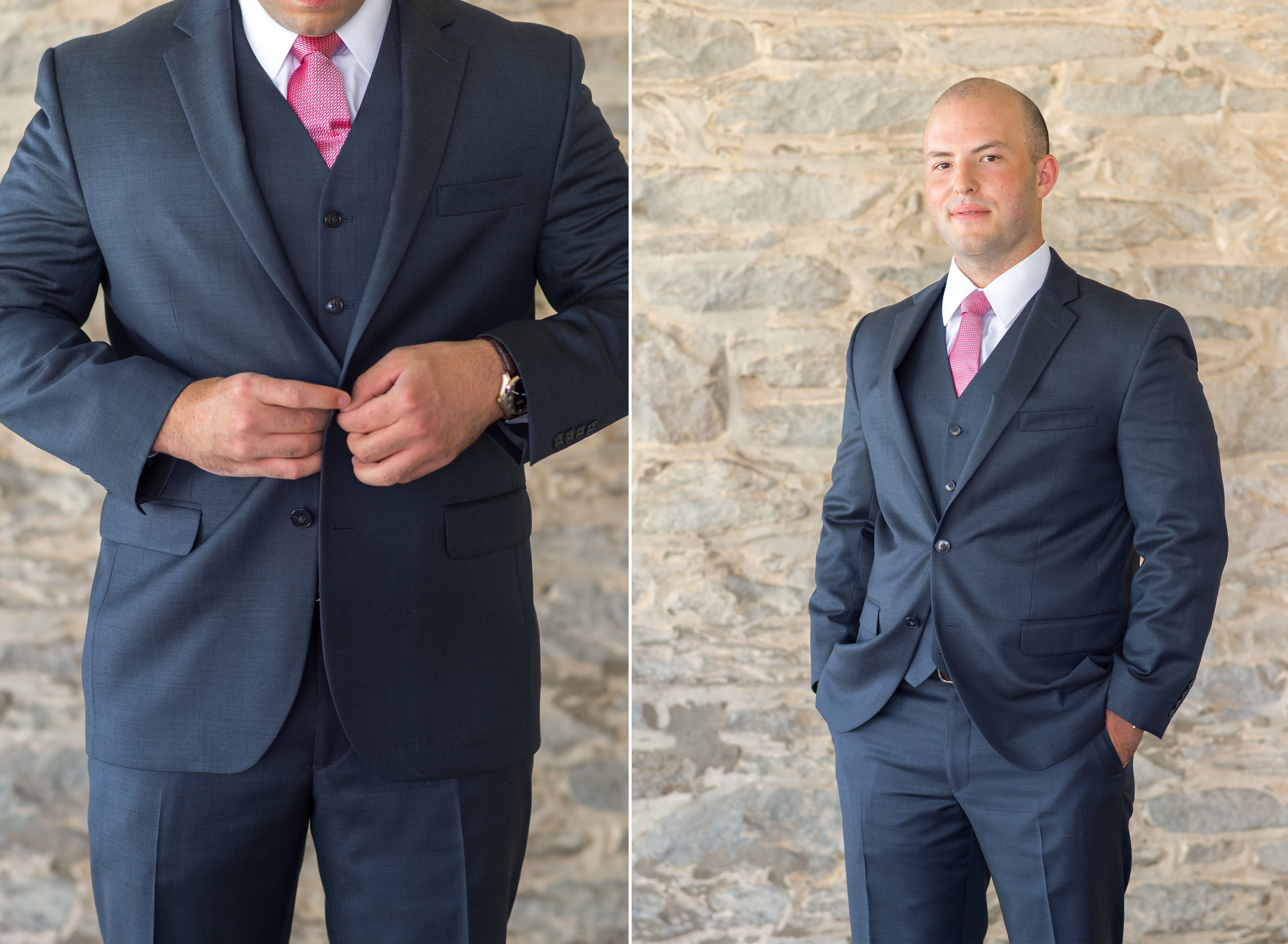 Groom getting ready at Springfield Manor Winery and Distillery