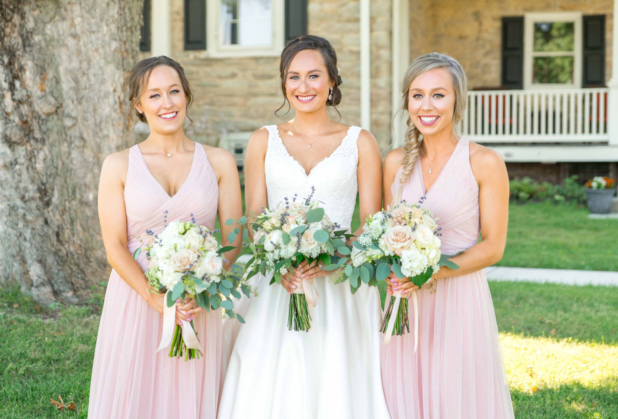 Pink bridesmaids dresses at Springfield Manor Winery