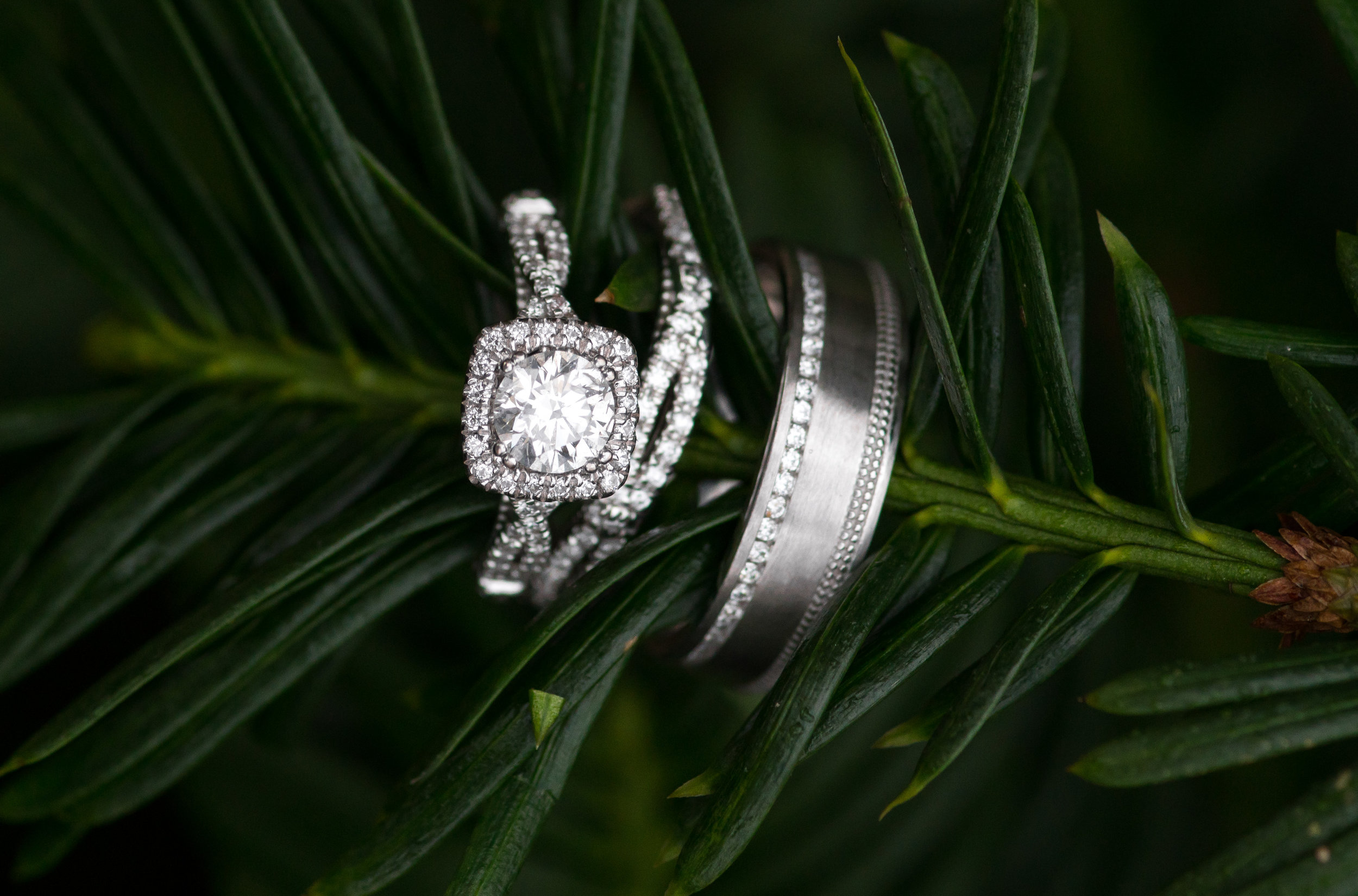 custom engagement ring and band with halo