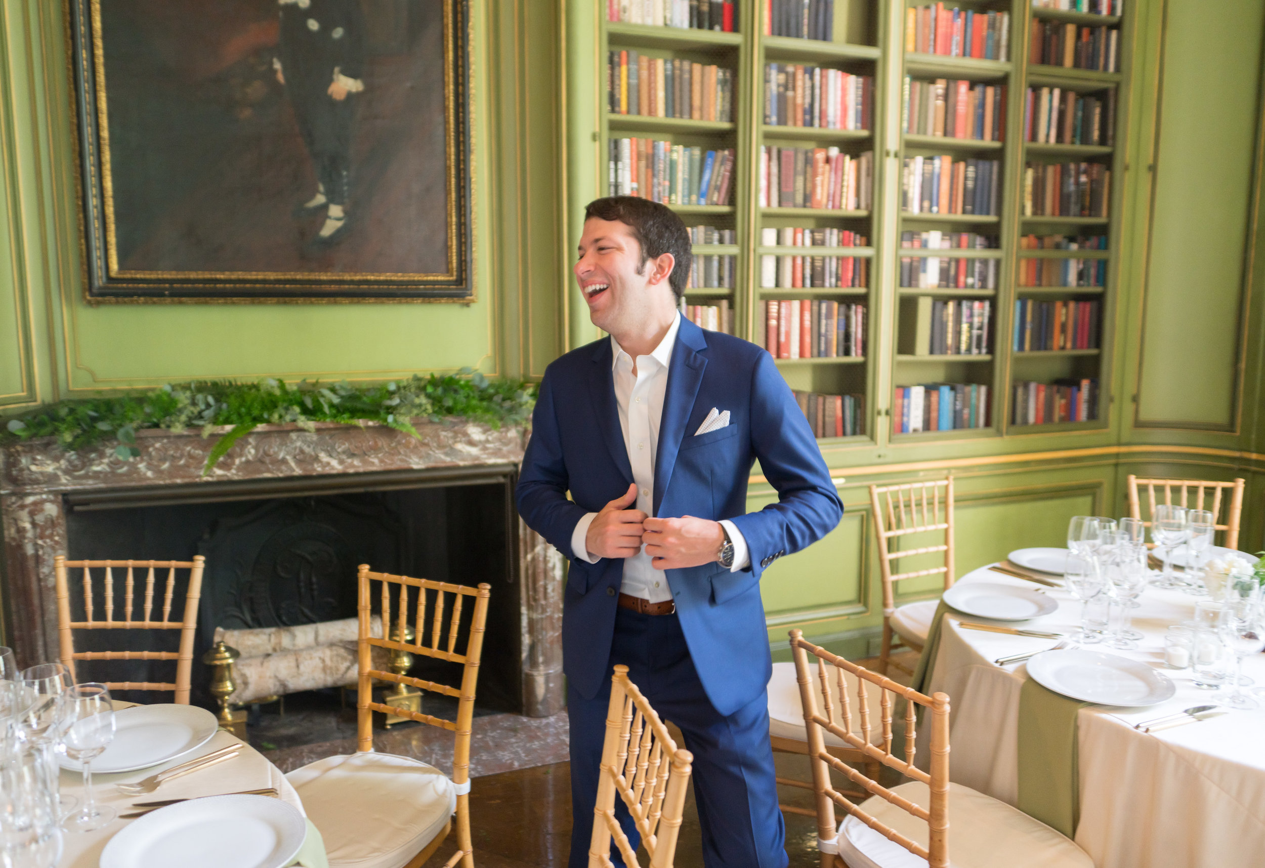 Green library room at meridian house summer wedding by jessica nazarova