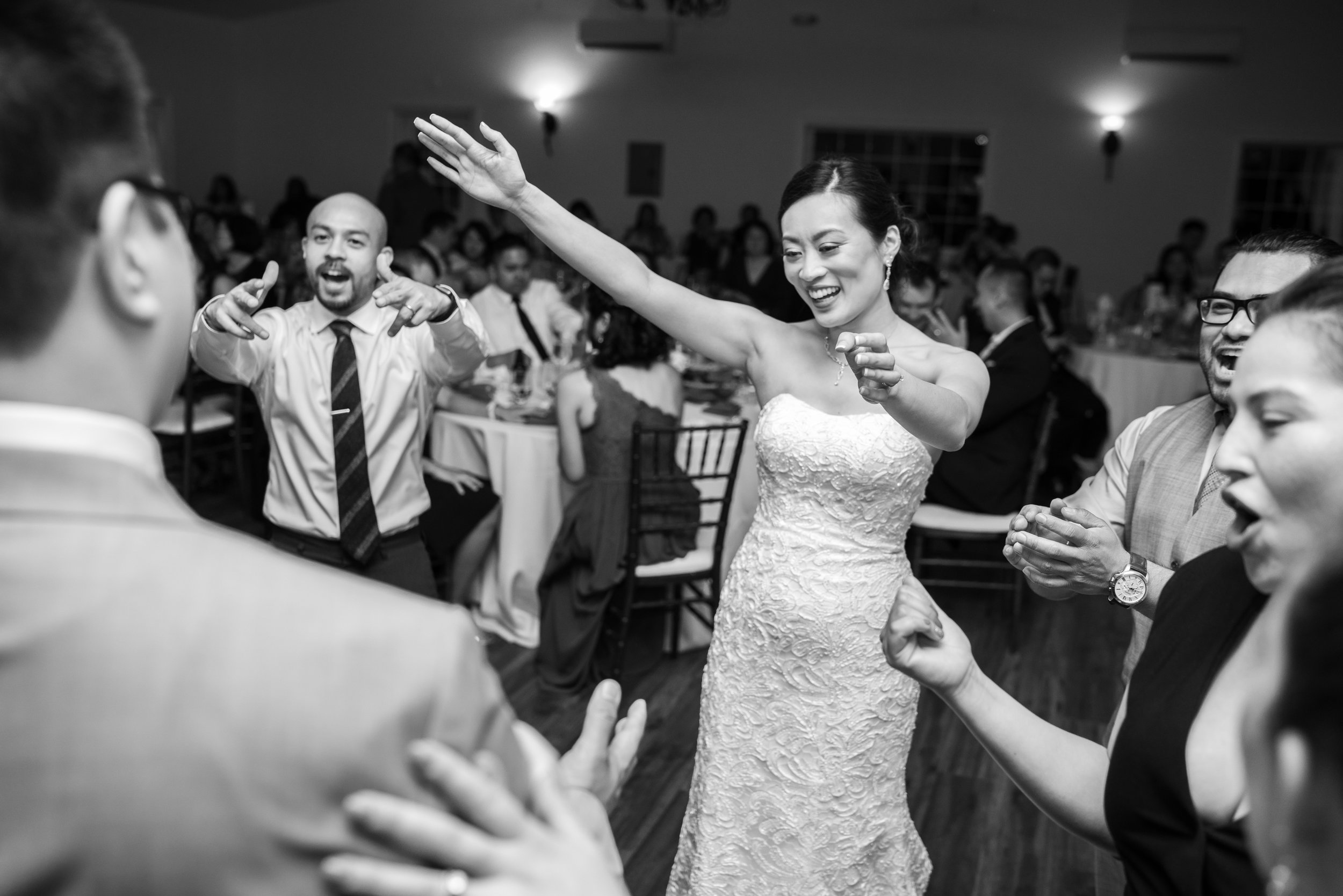 Bride on the dance floor at Lost Creek Winery reception hall