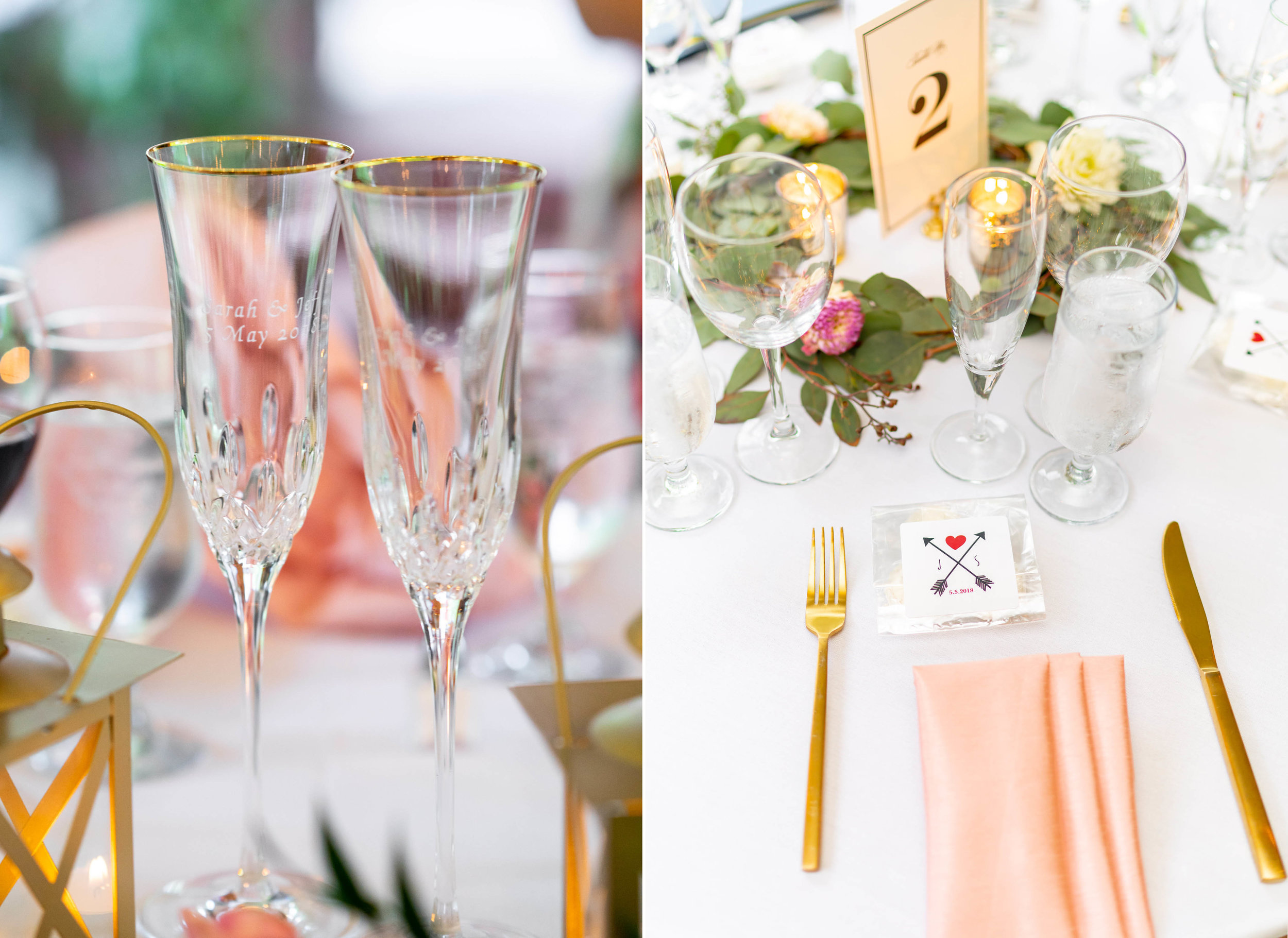 Yellow gold mixed with rose gold details at wedding reception at Hendry House