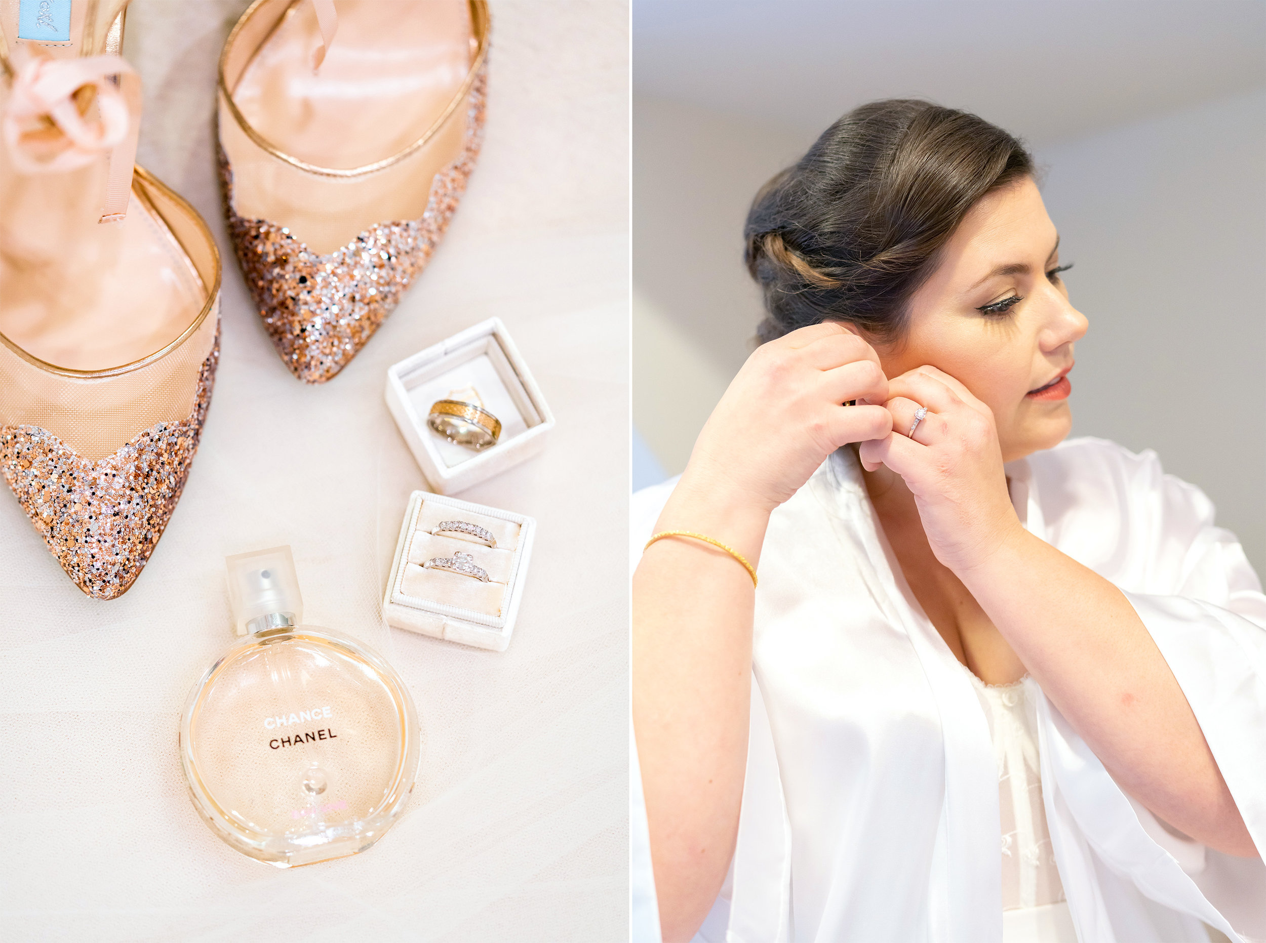 Details (left) and the bride putting her earring in (right) at Hendry House