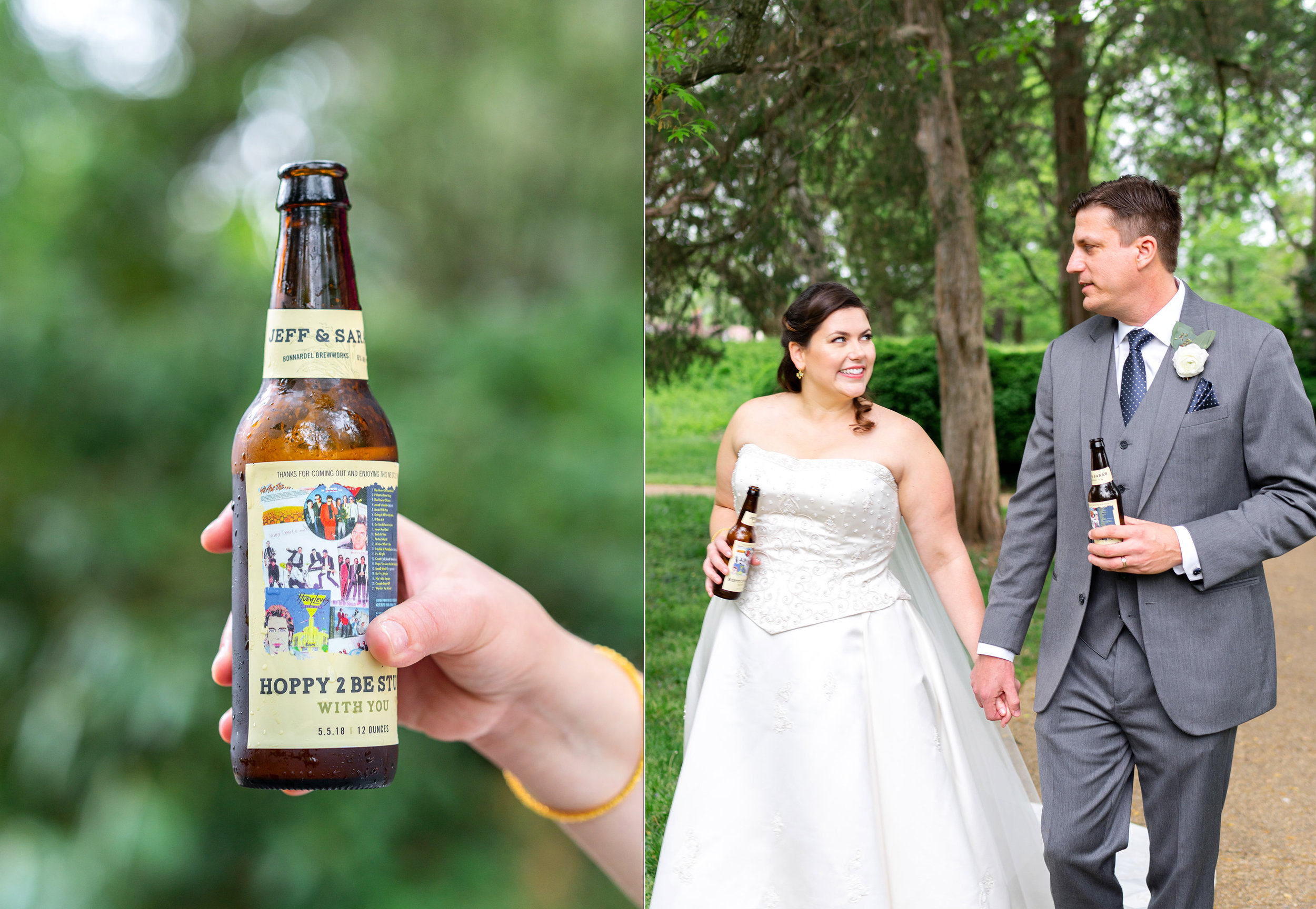 Custom beer bottle label for wedding at Hendry House (left) and bride and groom (right)