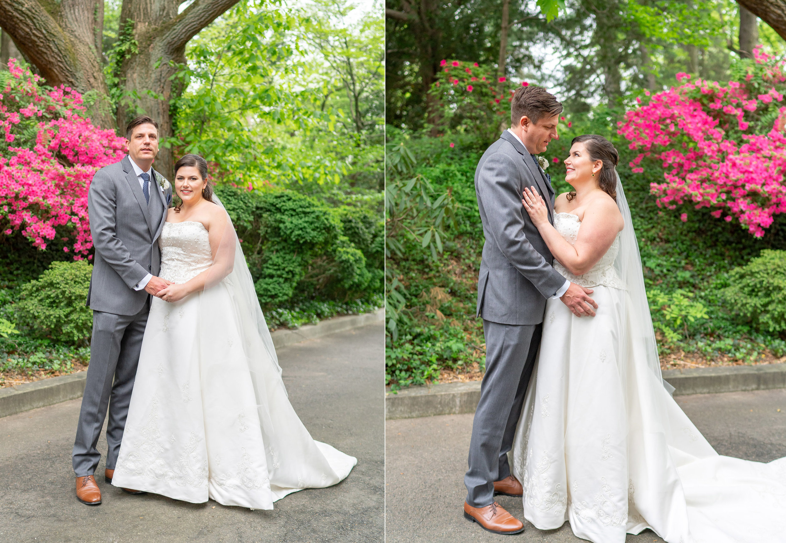 Bride and groom portraits at summer wedding at Hendry House