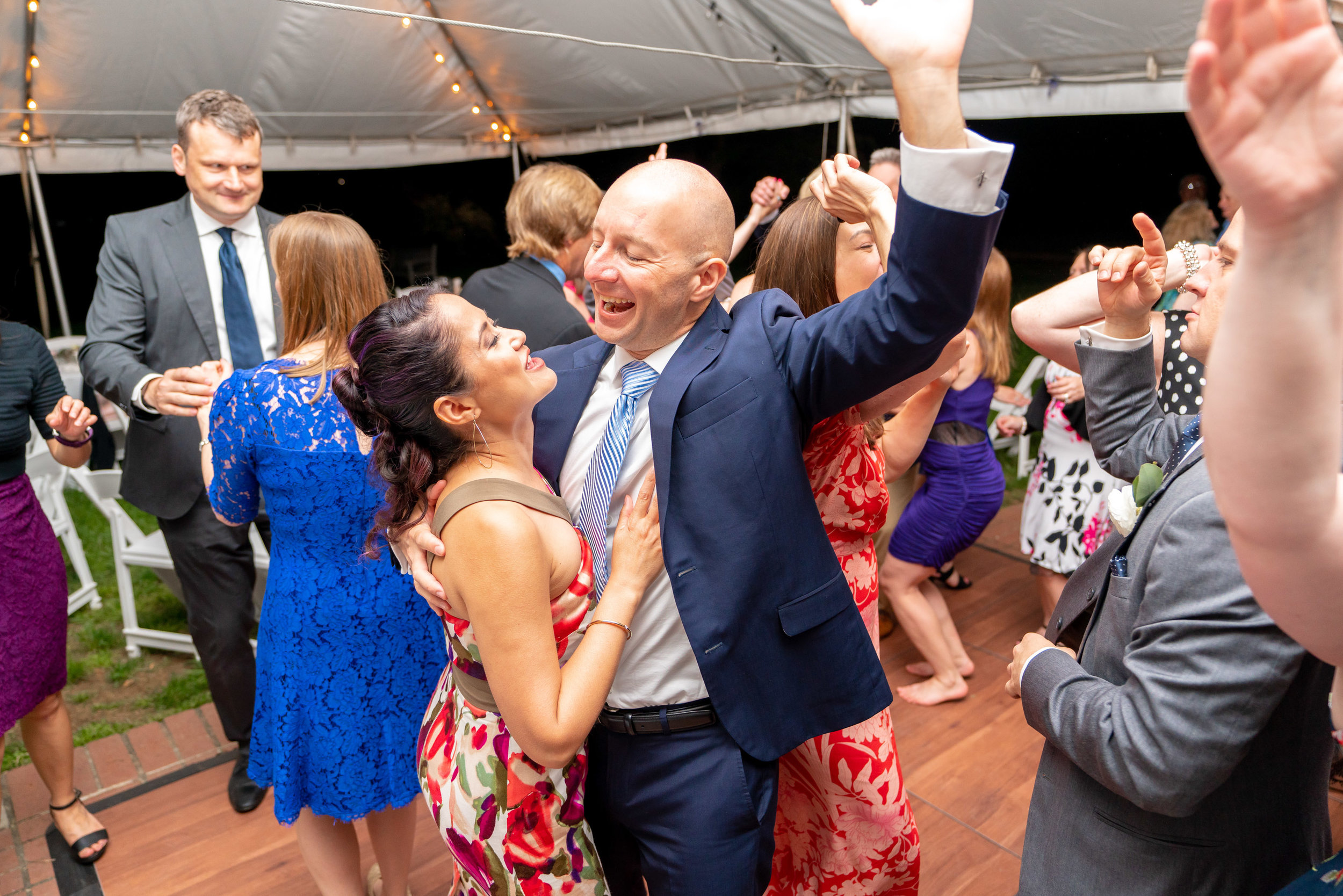 Amazing guests photo having a great time on the dance floor at Hendry House wedding