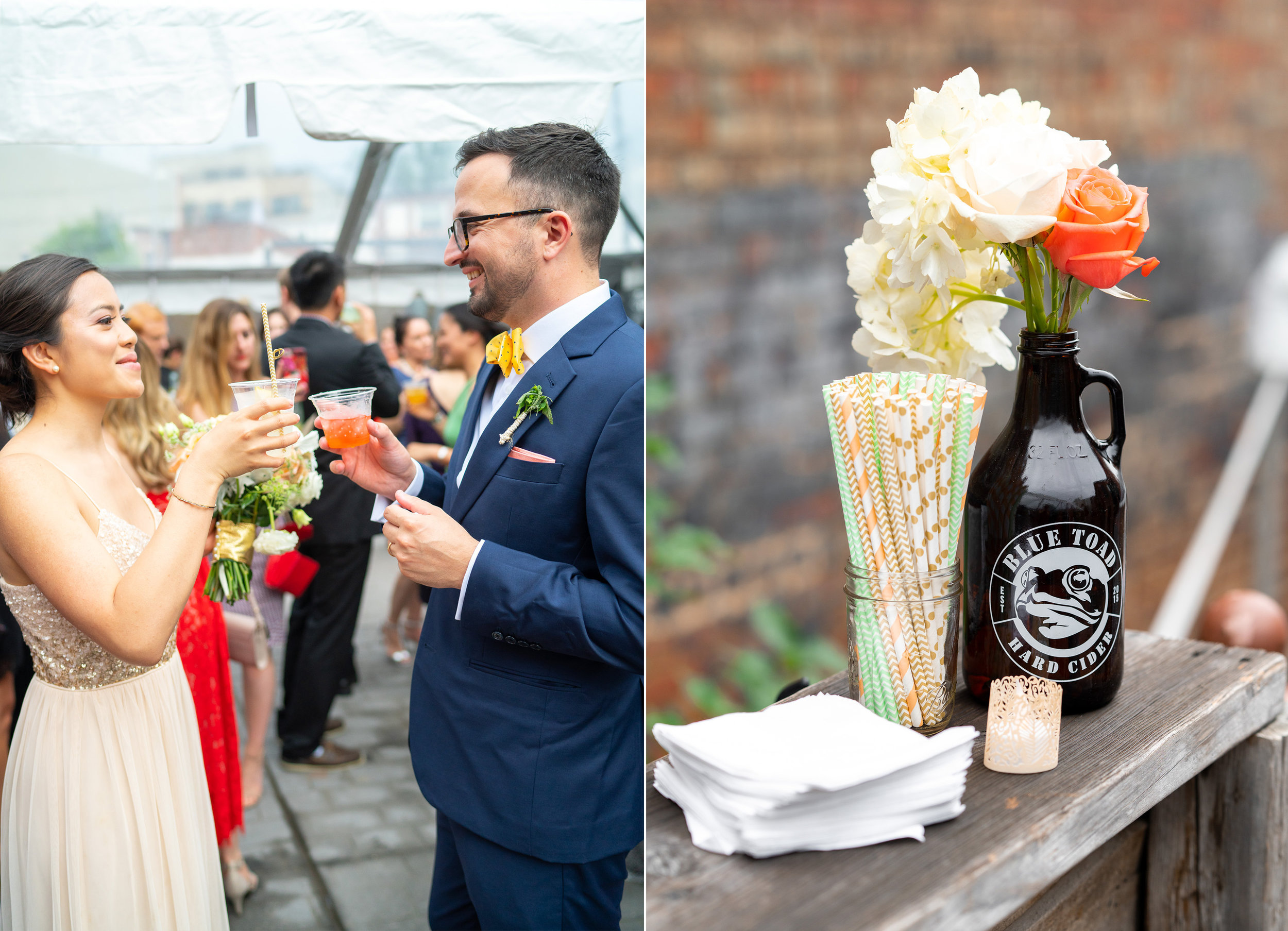 Bride and groom toasting under clear tent reception at DC venue Gallery O on H