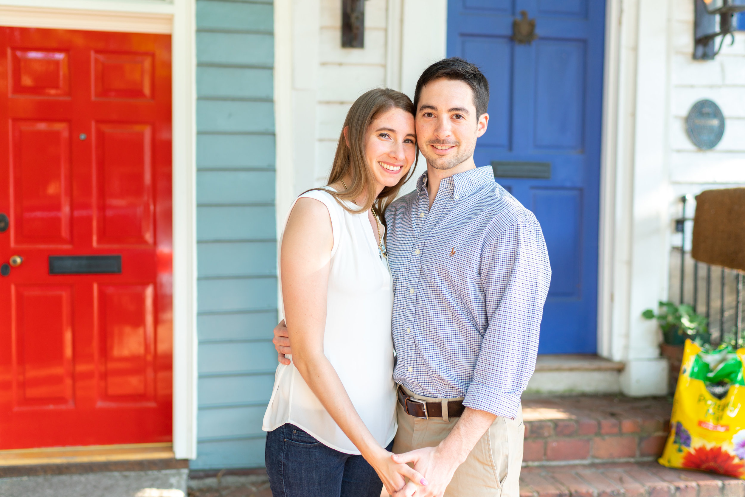 Colorful doors in Old Town Alexandria cobblestone streets engagement session