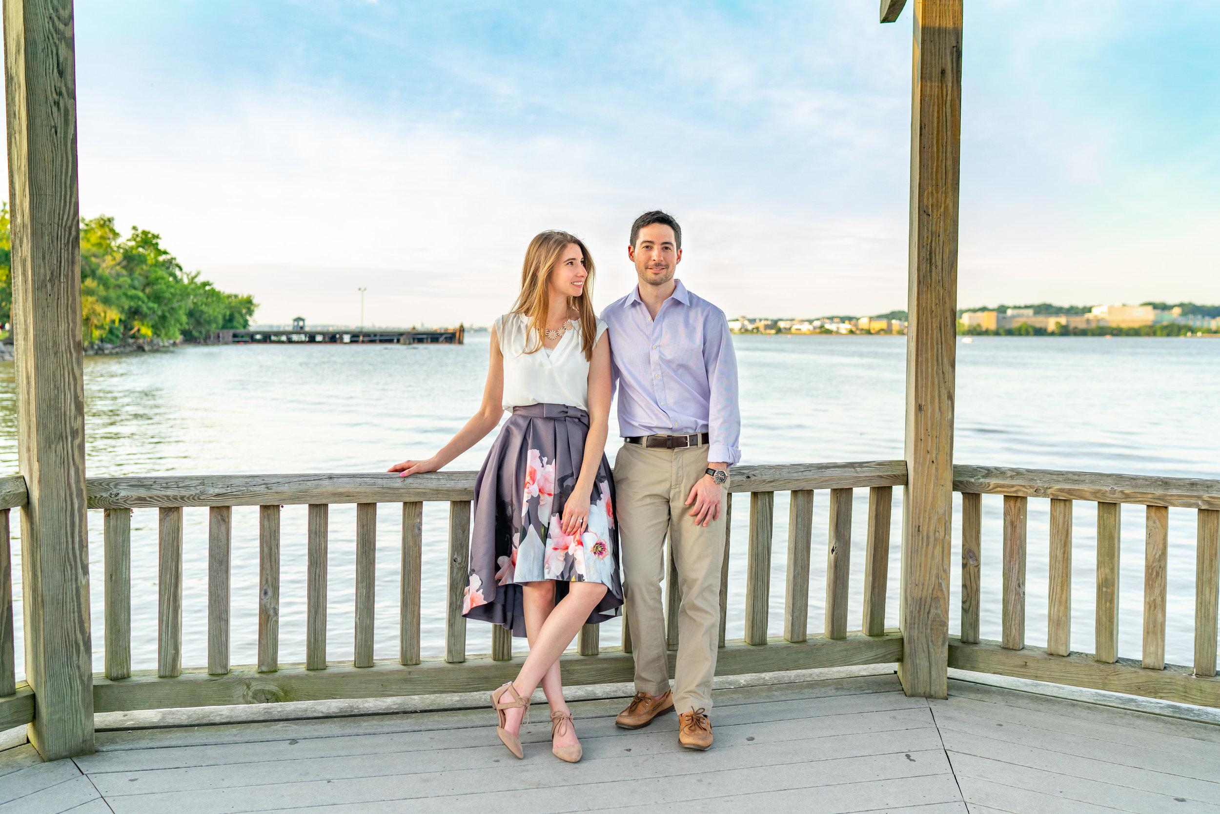 Dock engagement photos at Alexandria Virginia waterfront