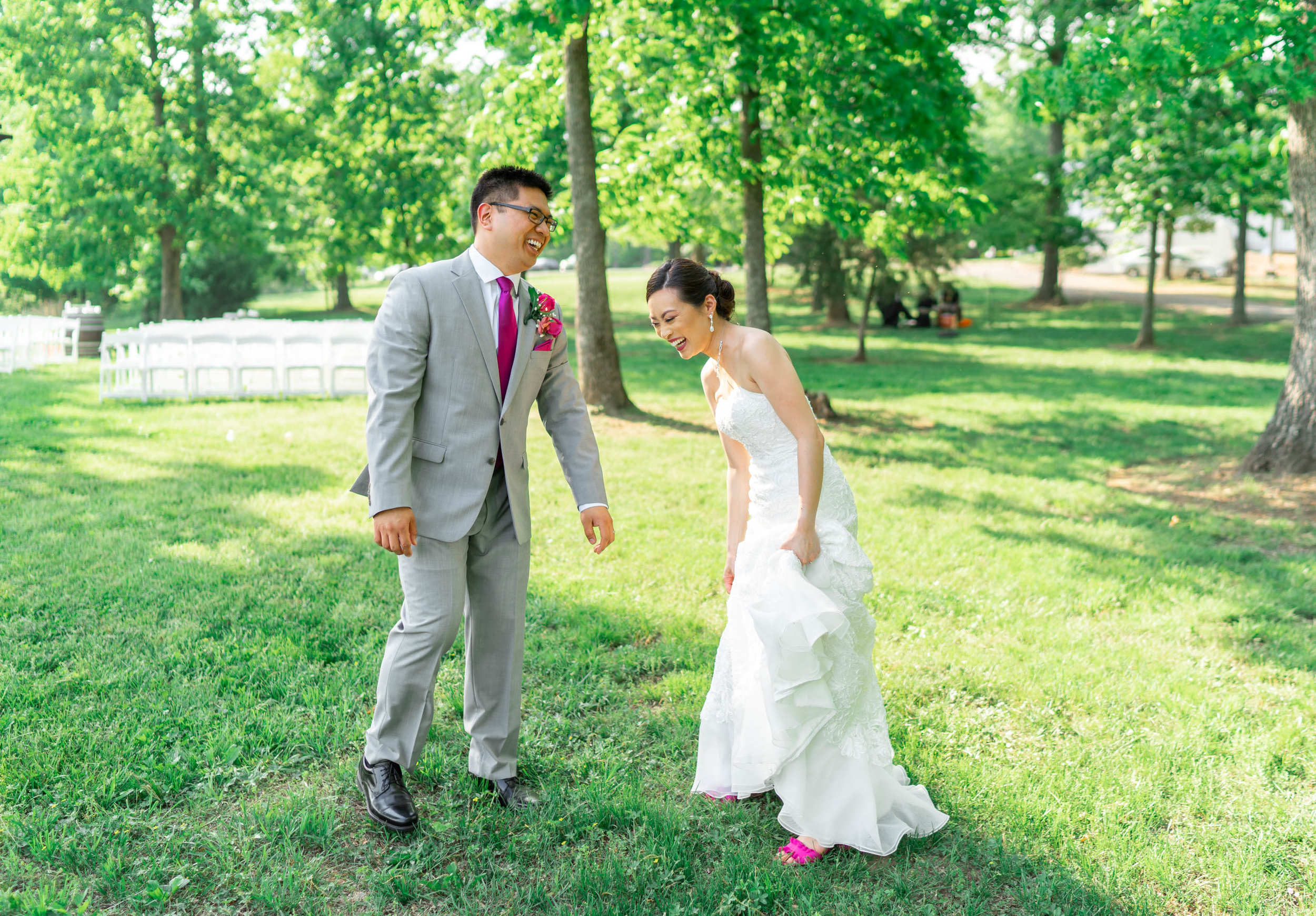 Bride and groom laughing at Harvest House at Lost Creek Winery wedding