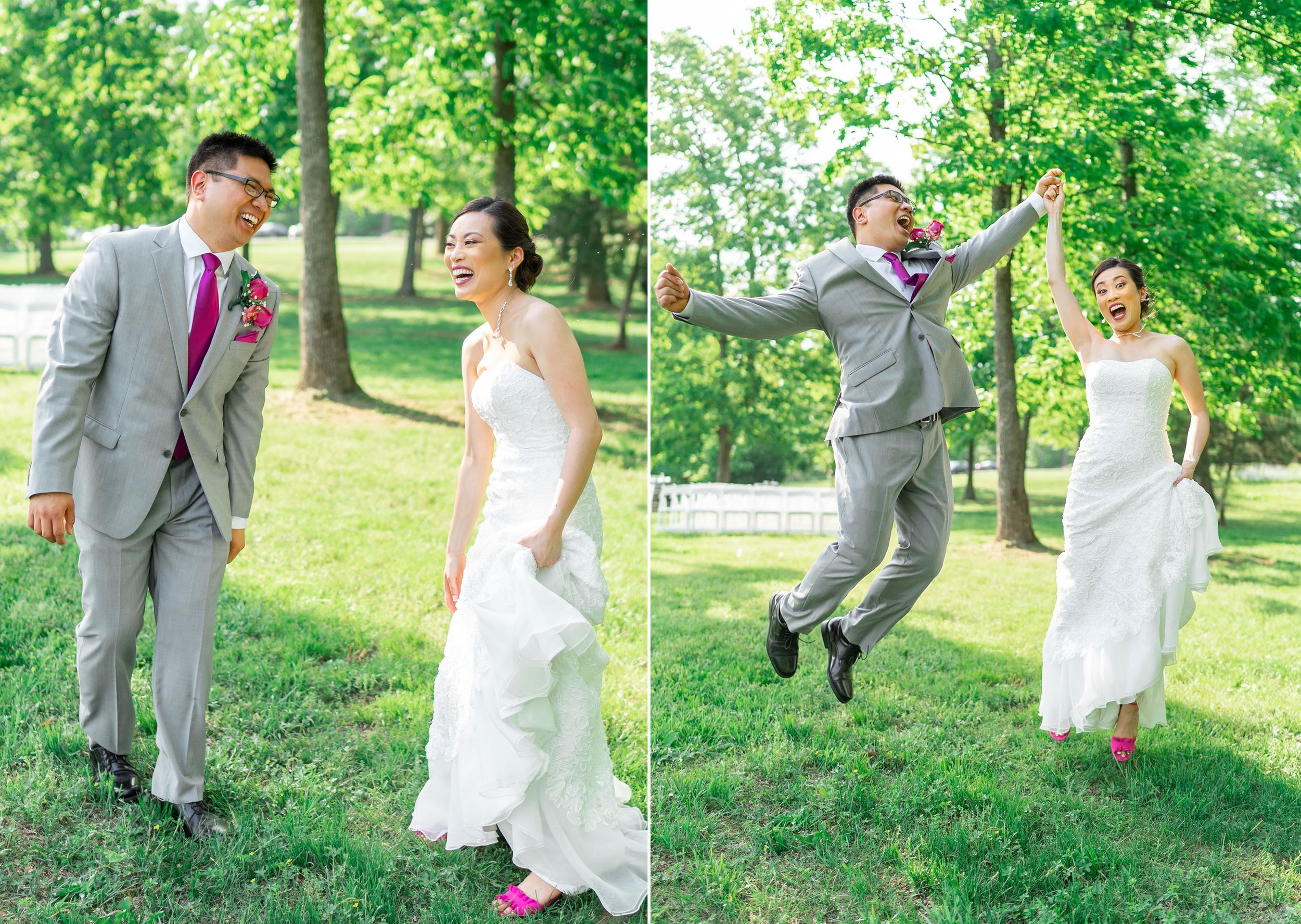 Bride and groom jumping in the air and laughing
