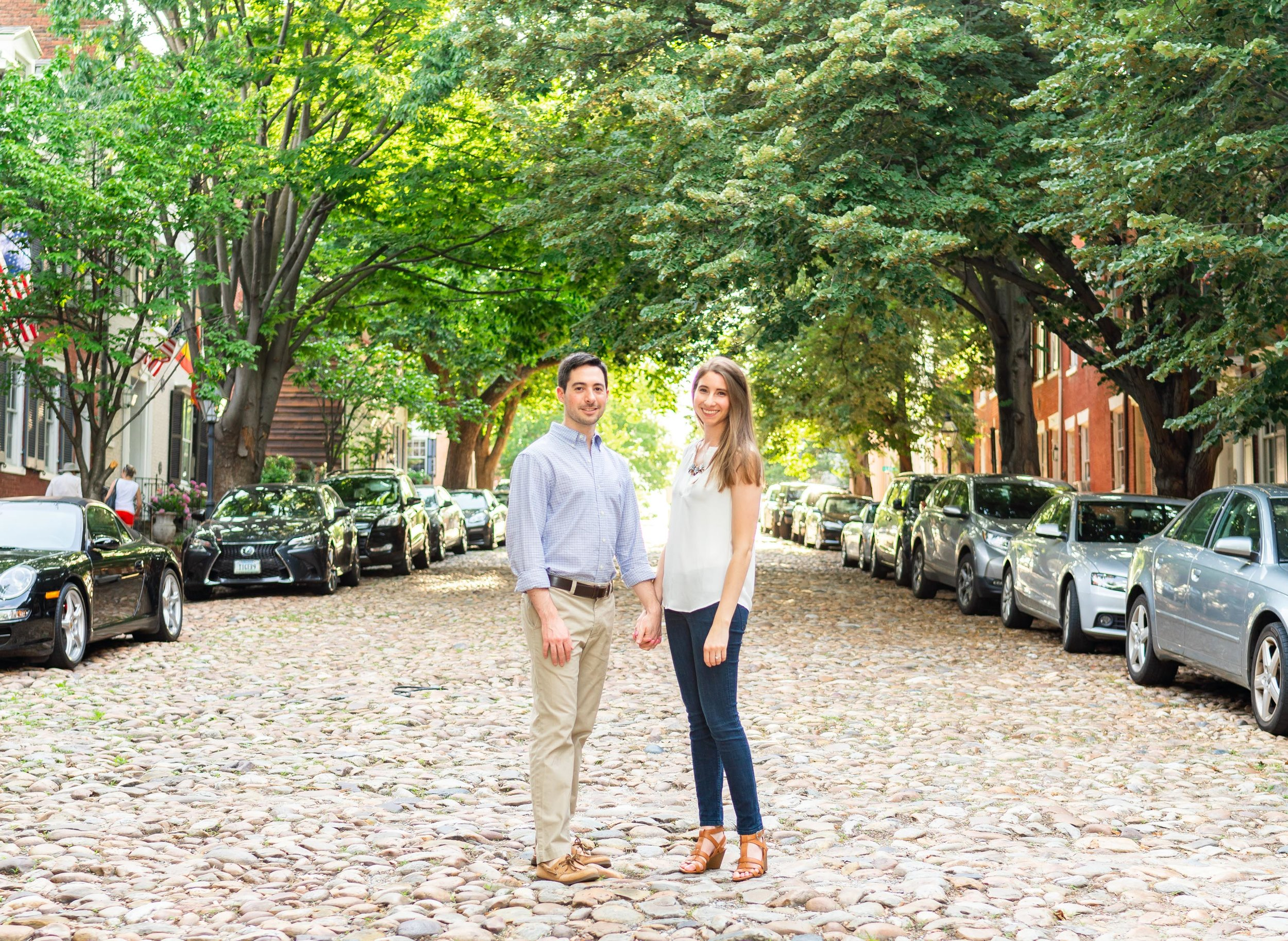 Cobblestone street in Old Town Alexandria at golden hour sunset