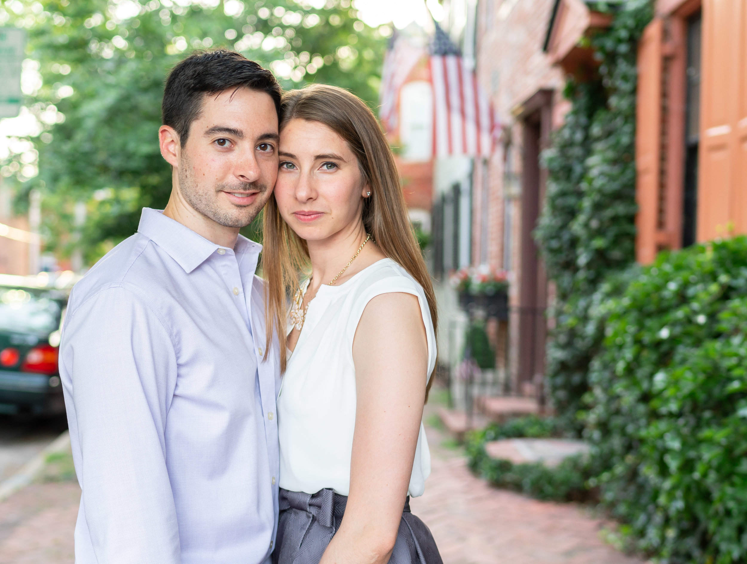 Engagement session at golden hour with a7riii in old town alexandria