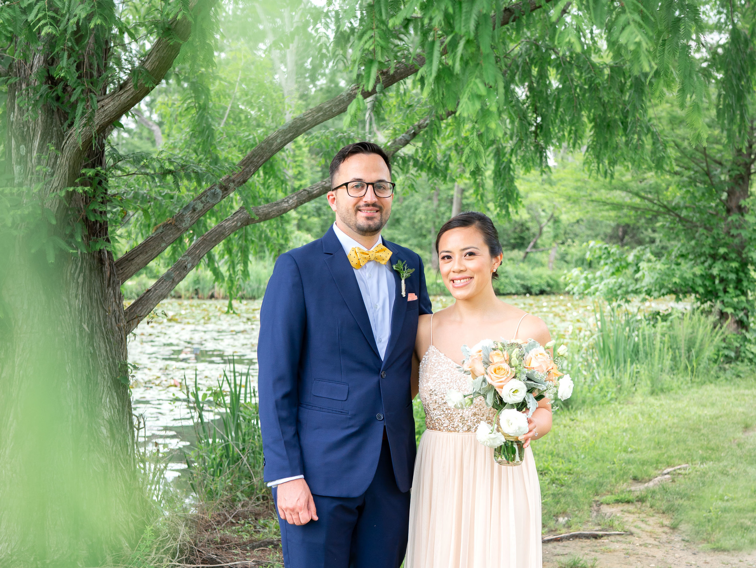 Kenilworth Aquatic gardens engagement and wedding portraits with bride and groom