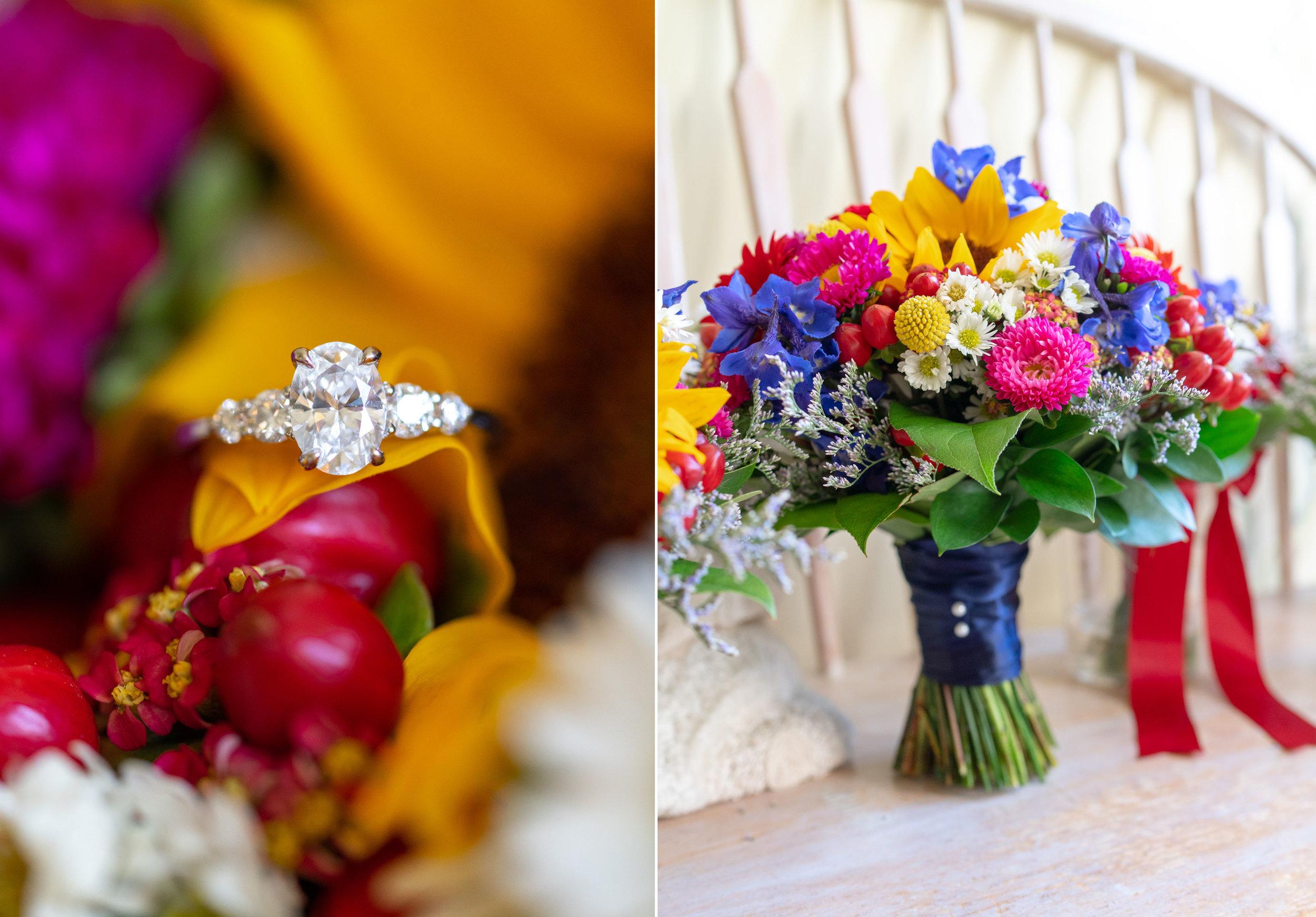 Beautiful flowers in bridal suite at Elkridge Furnace Inn wedding photos