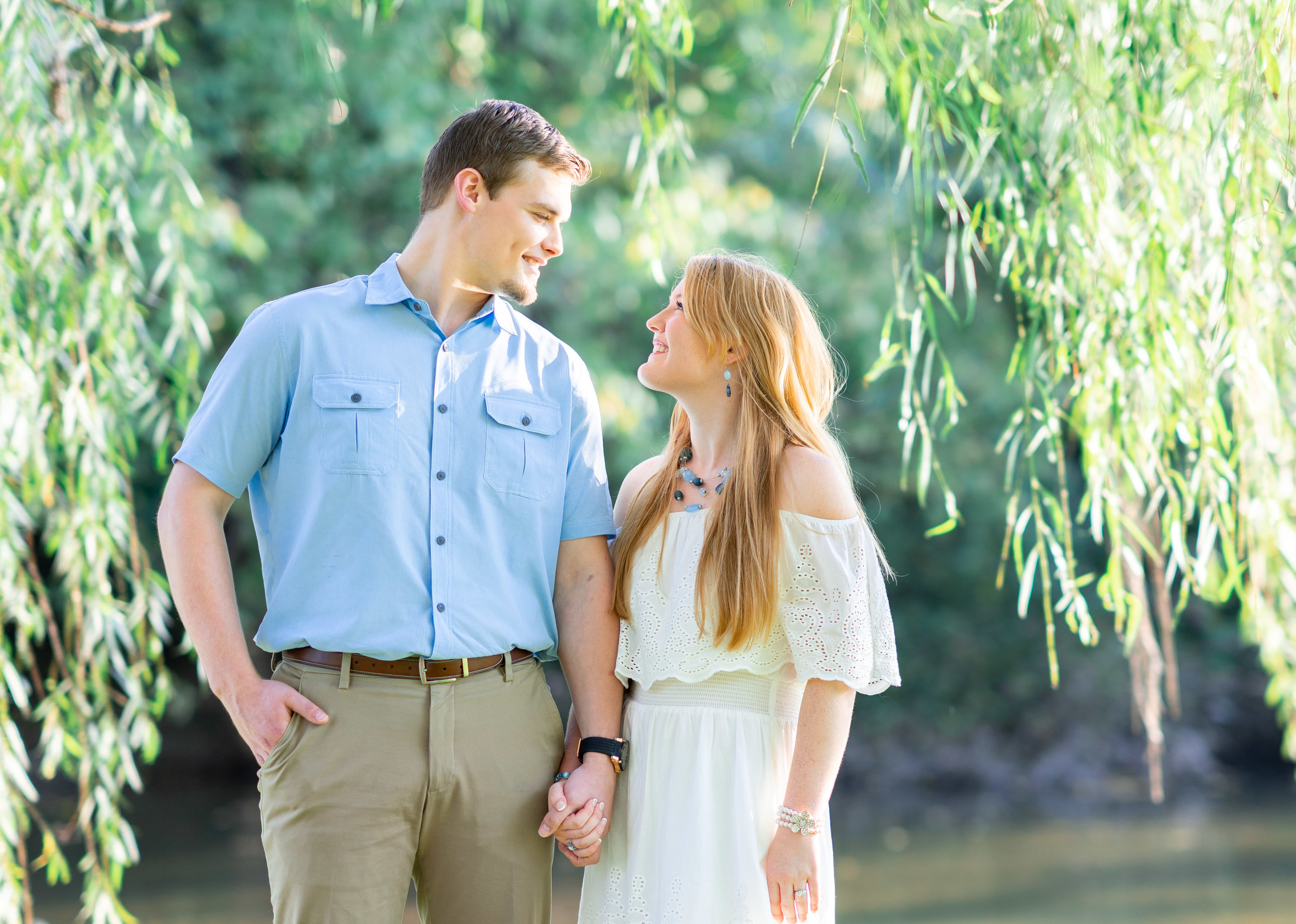 Weeping willow engagement photos at Baker Park in Frederick Maryland