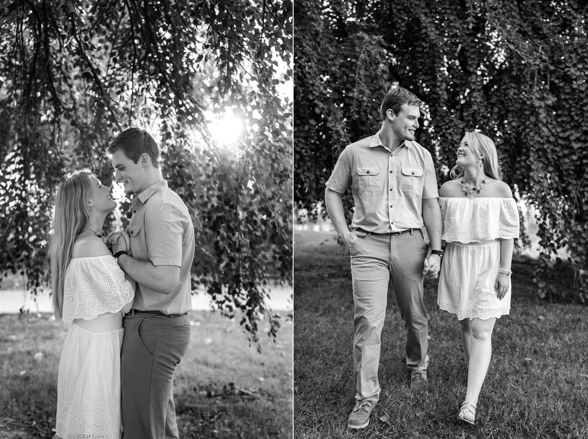 Black and white images of bride and groom under willow tree engagement session Baker Park in Frederick Maryland
