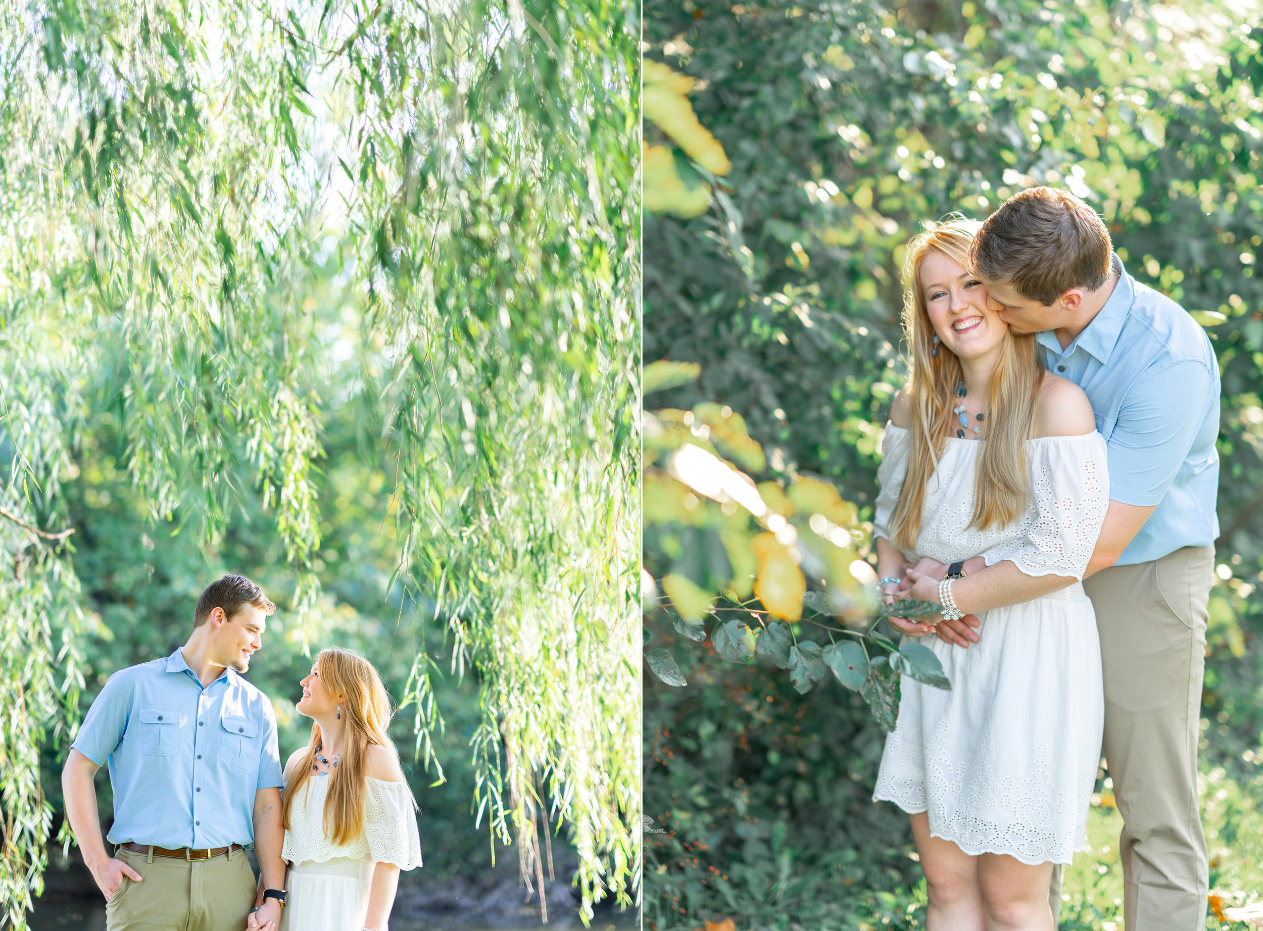Collage of bride and groom engagement photos in Frederick Maryland Baker park