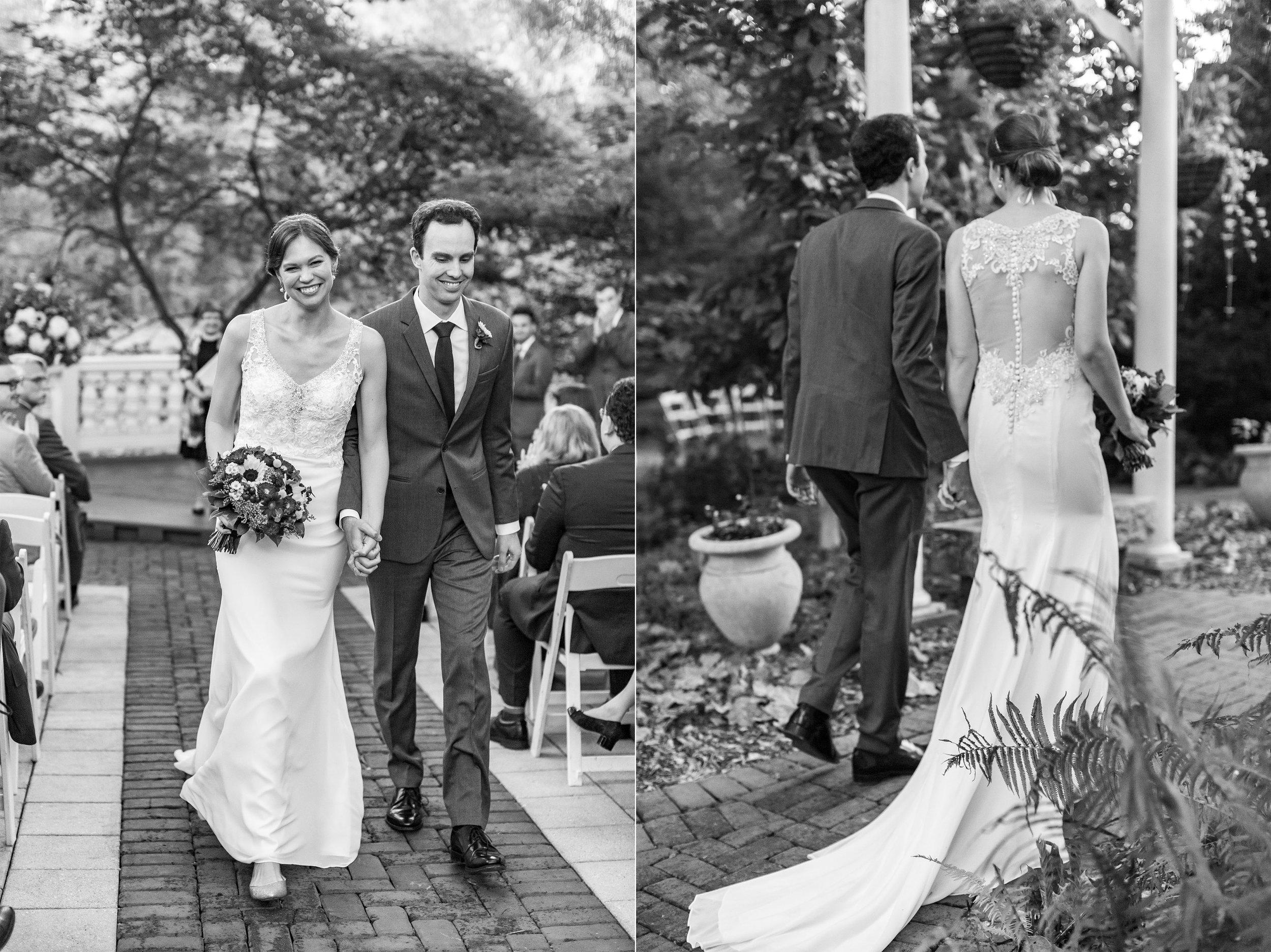 Wedding photos of bride and groom at Maryland's Elkridge Furnace Inn venue