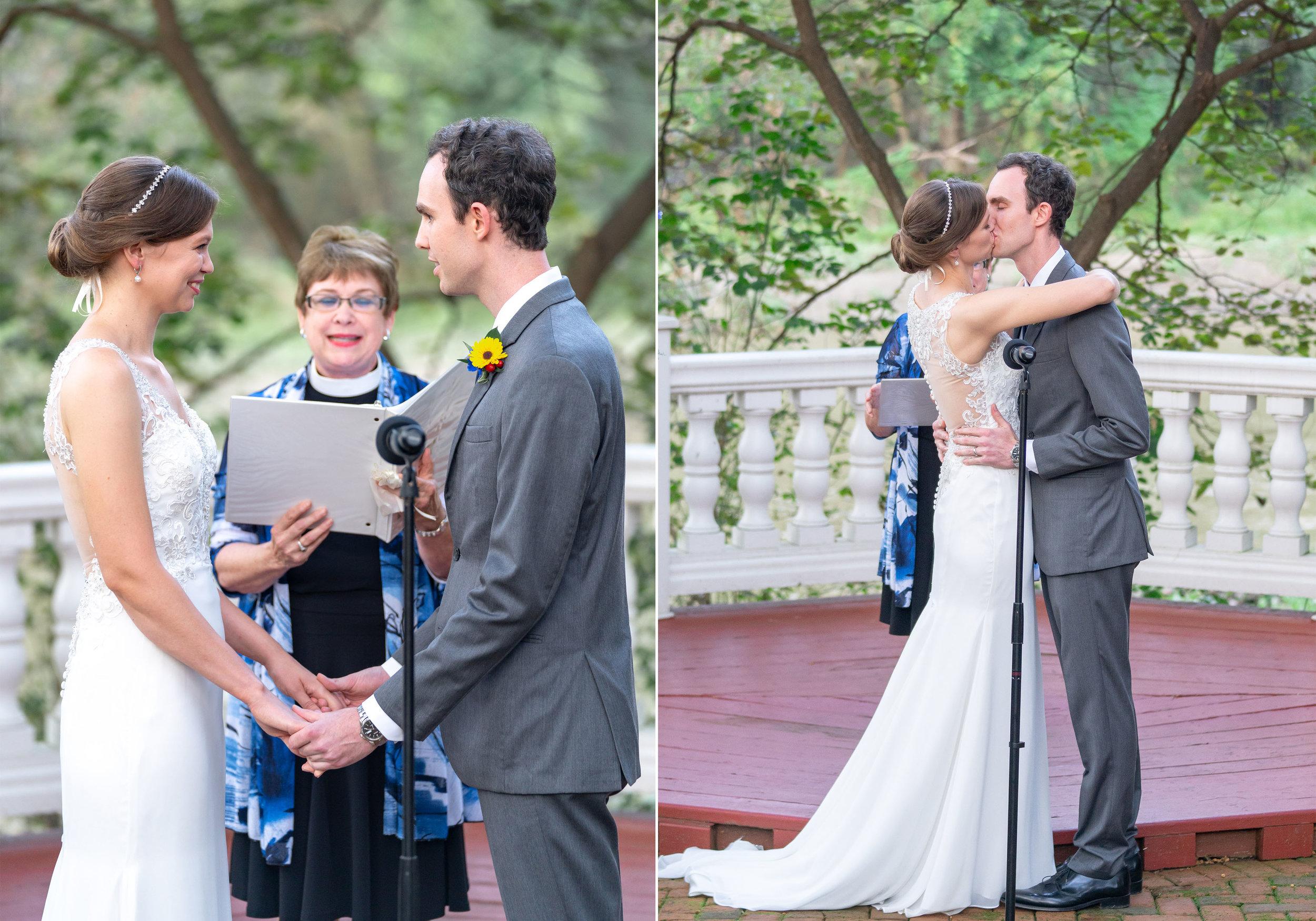 Bride in Morilee Myka and groom kiss after wedding ceremony at Elkridge Furnace Inn