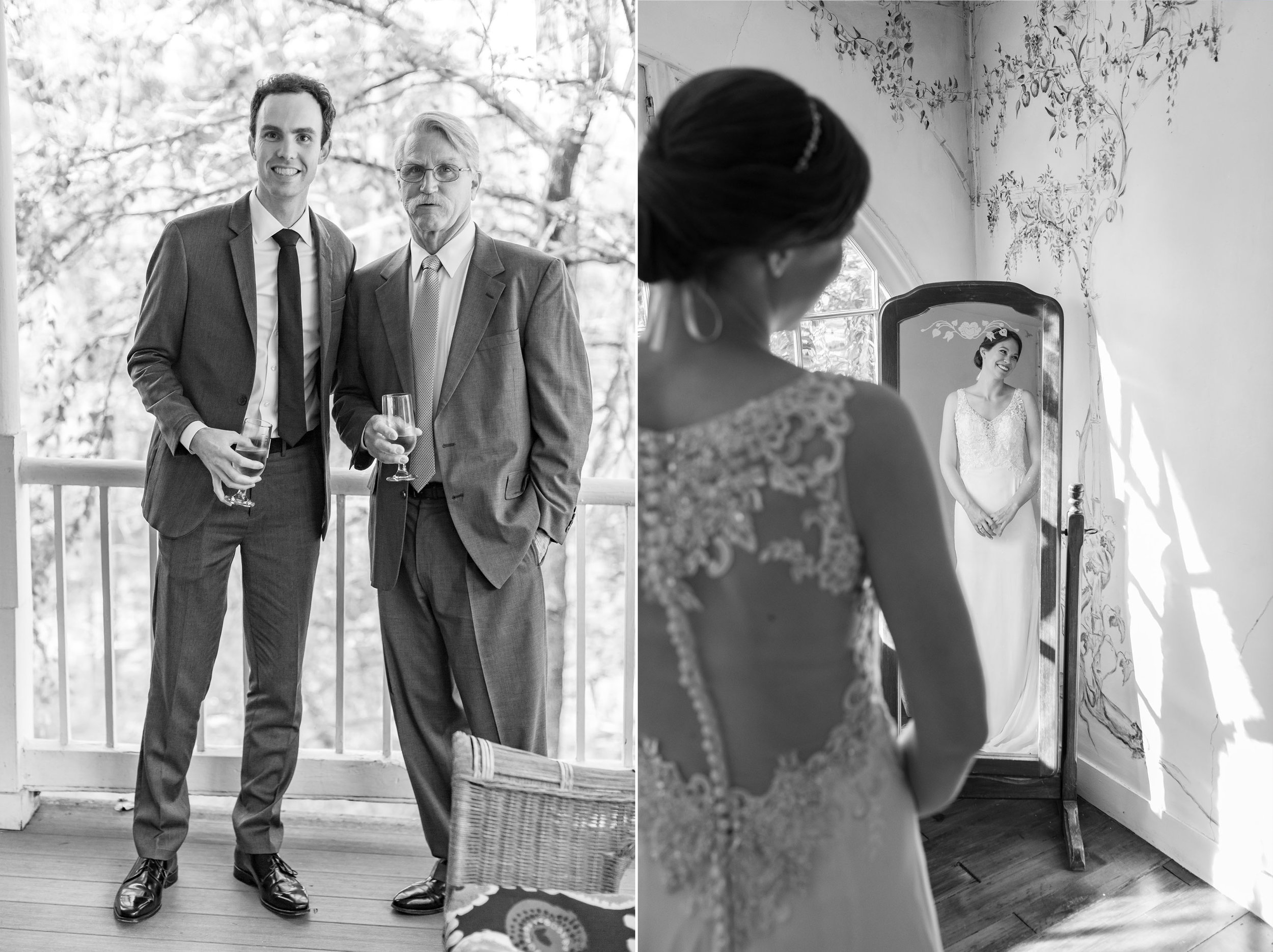 Bride and groom getting ready in suite at Elkridge Furnace Inn wedding photos