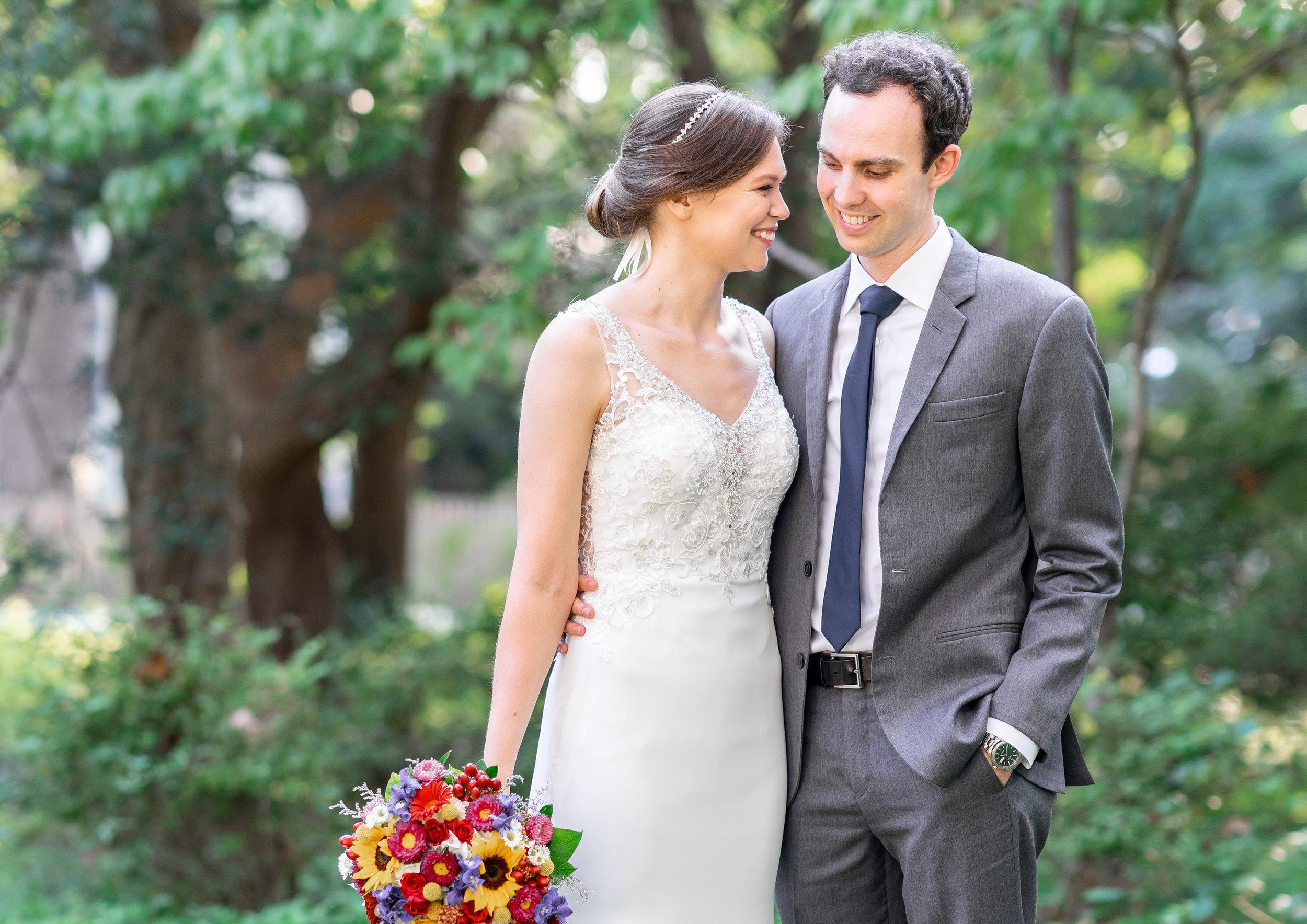 Morilee Myka gown on bride and groom at Elkridge Furnace Inn wedding photos