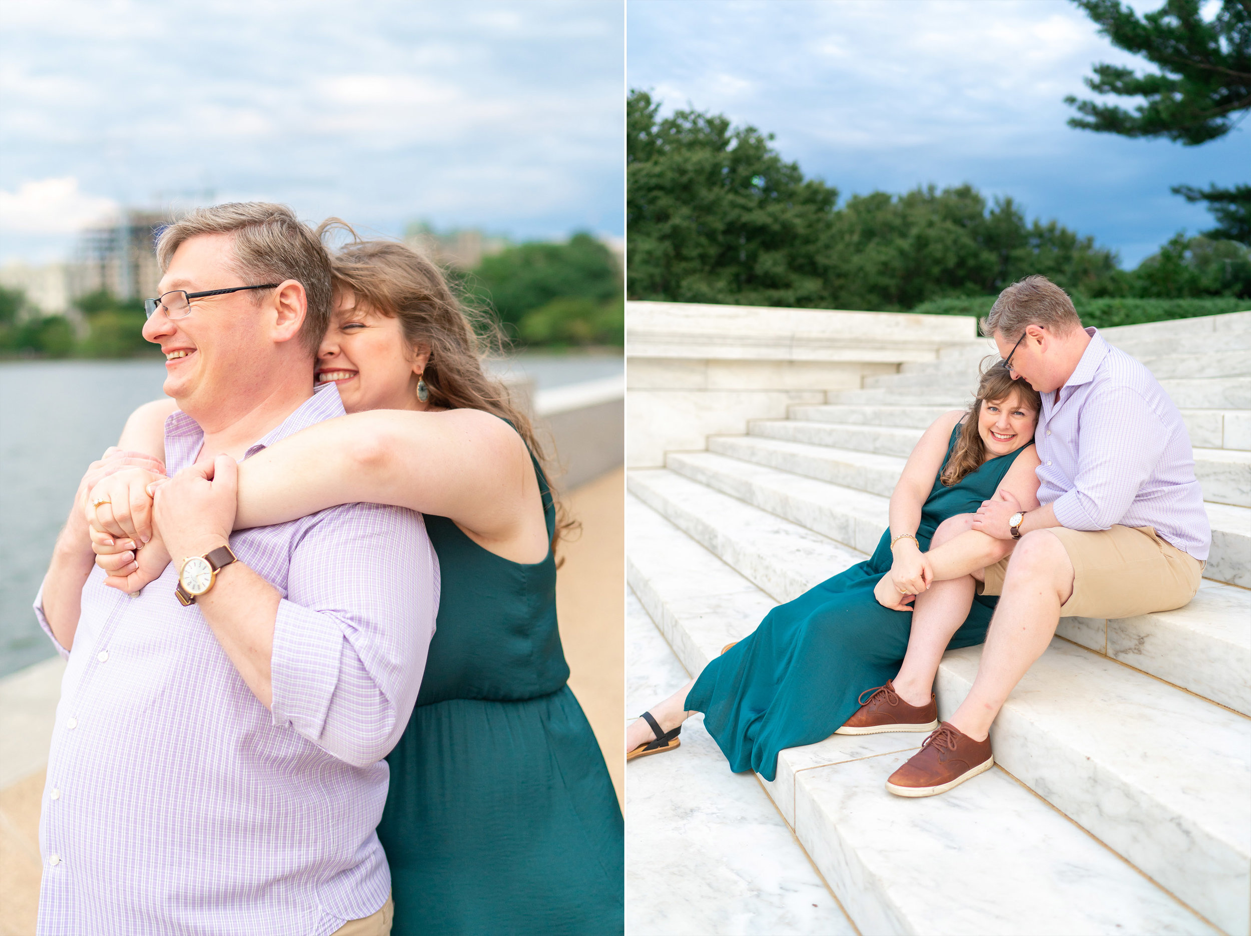 Jefferson Memorial engagement photos on the steps