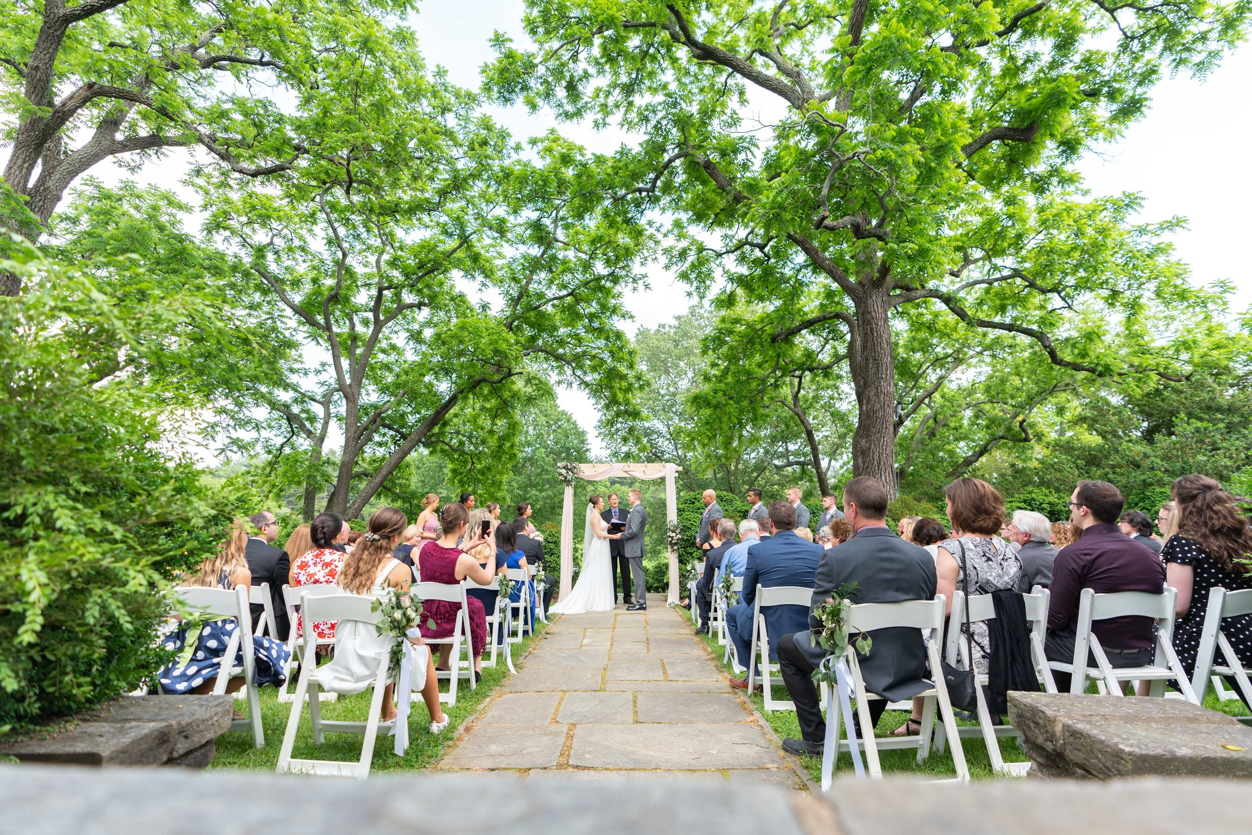 Ceremony site in spring early May at Glenview Mansion wedding