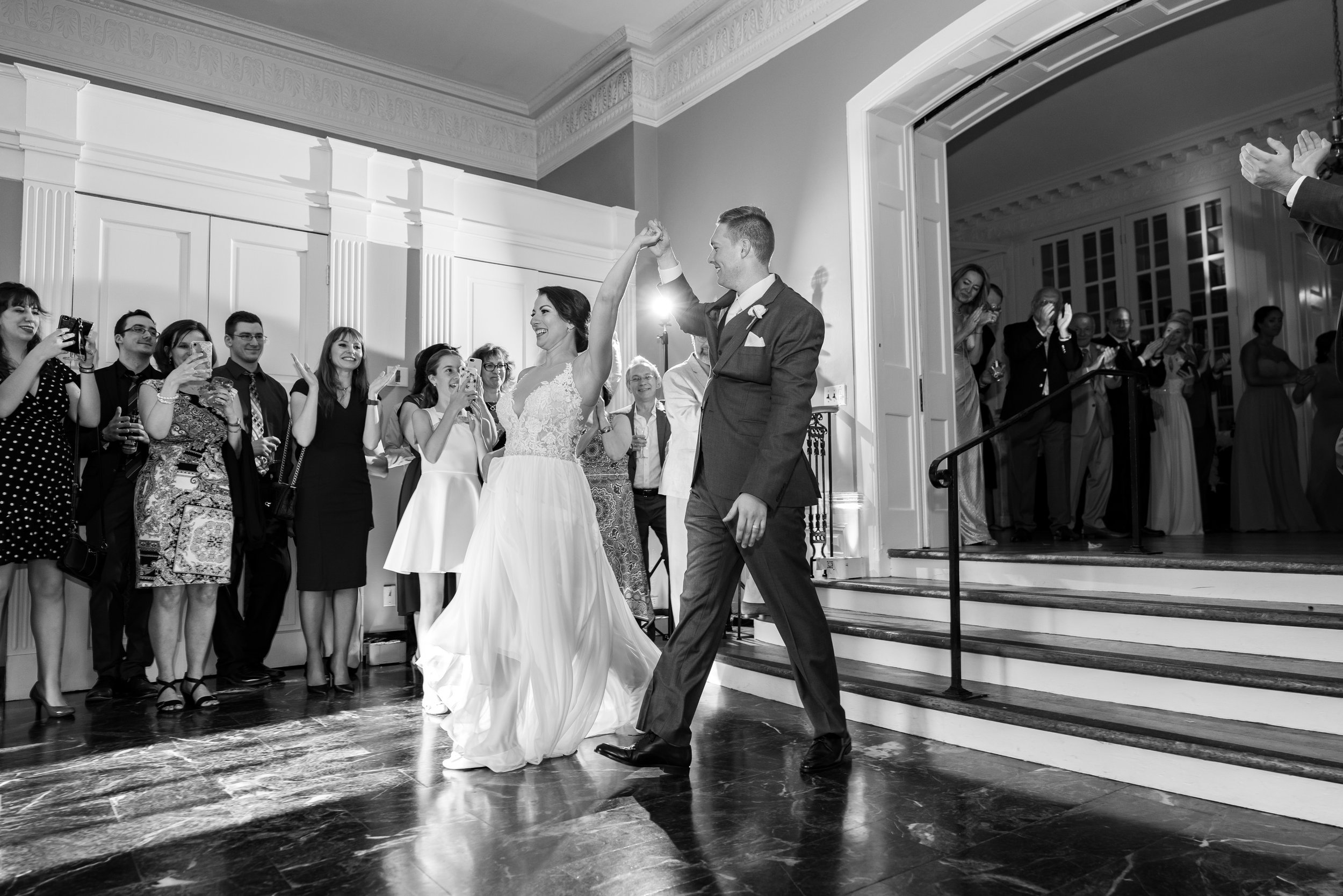 Dramatic choreographed first dance in ballroom at Glenview mansion