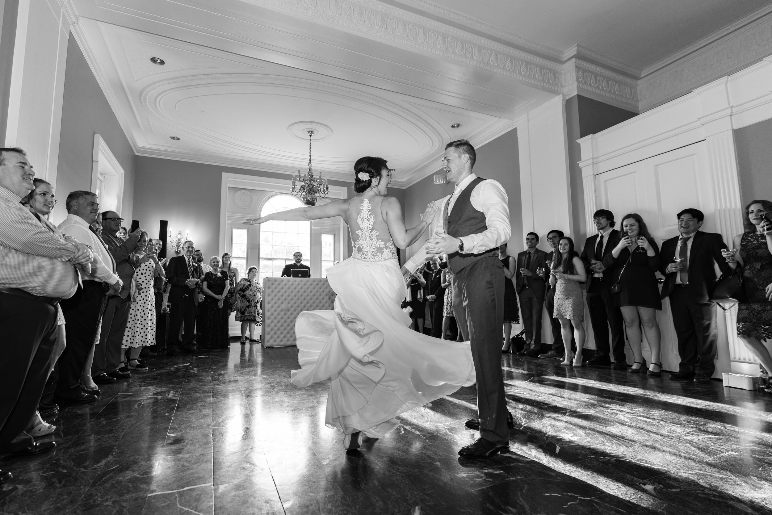 Choreographed first dance bride and groom at Glenview Mansion ballroom