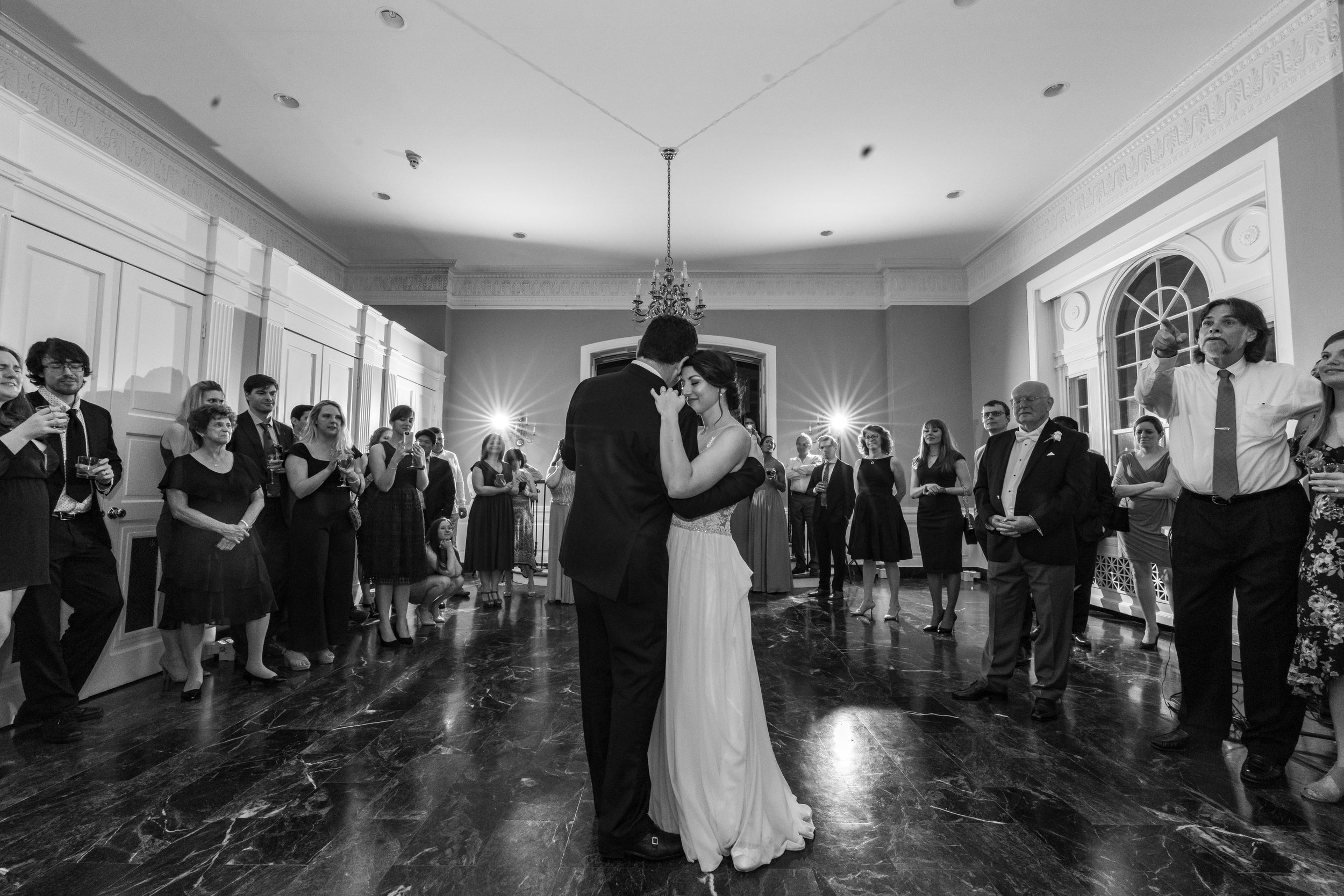 Father daughter dance in black and white at Glenview Mansion in May spring