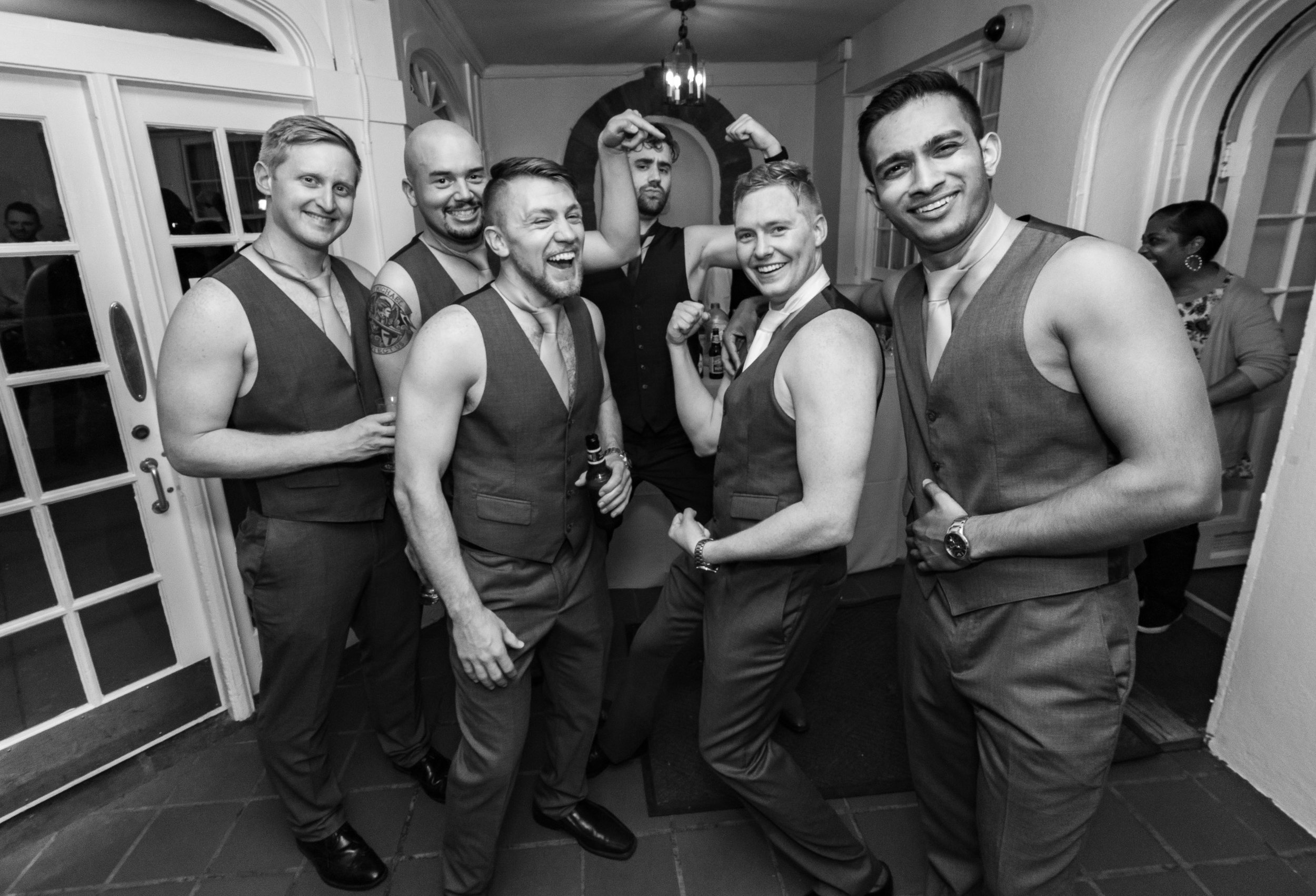 Candid wedding photography in washington dc groomsmen chippendale