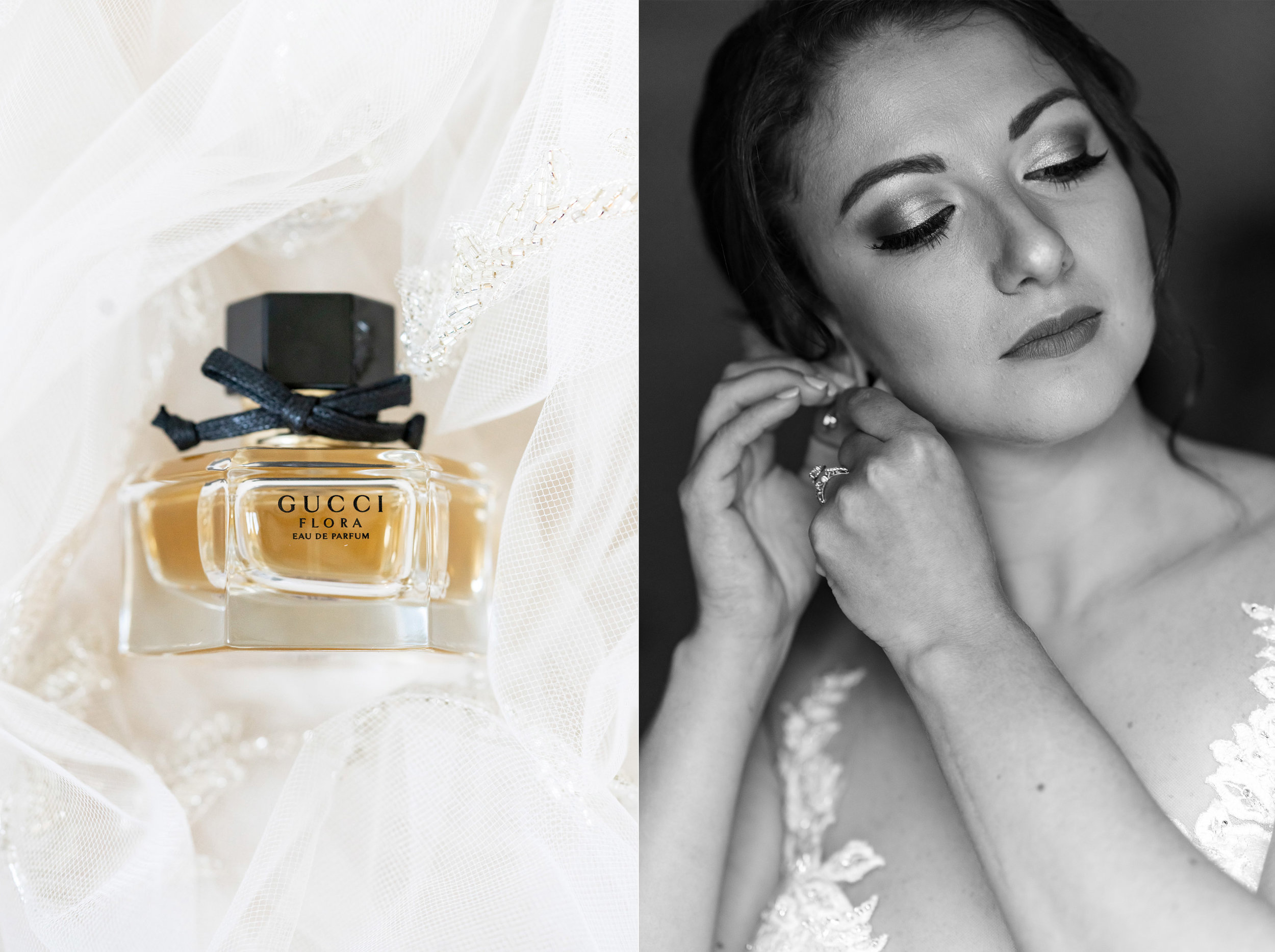 Gucci floral perfume in veil and bride putting on her earrings at Glenview Mansion