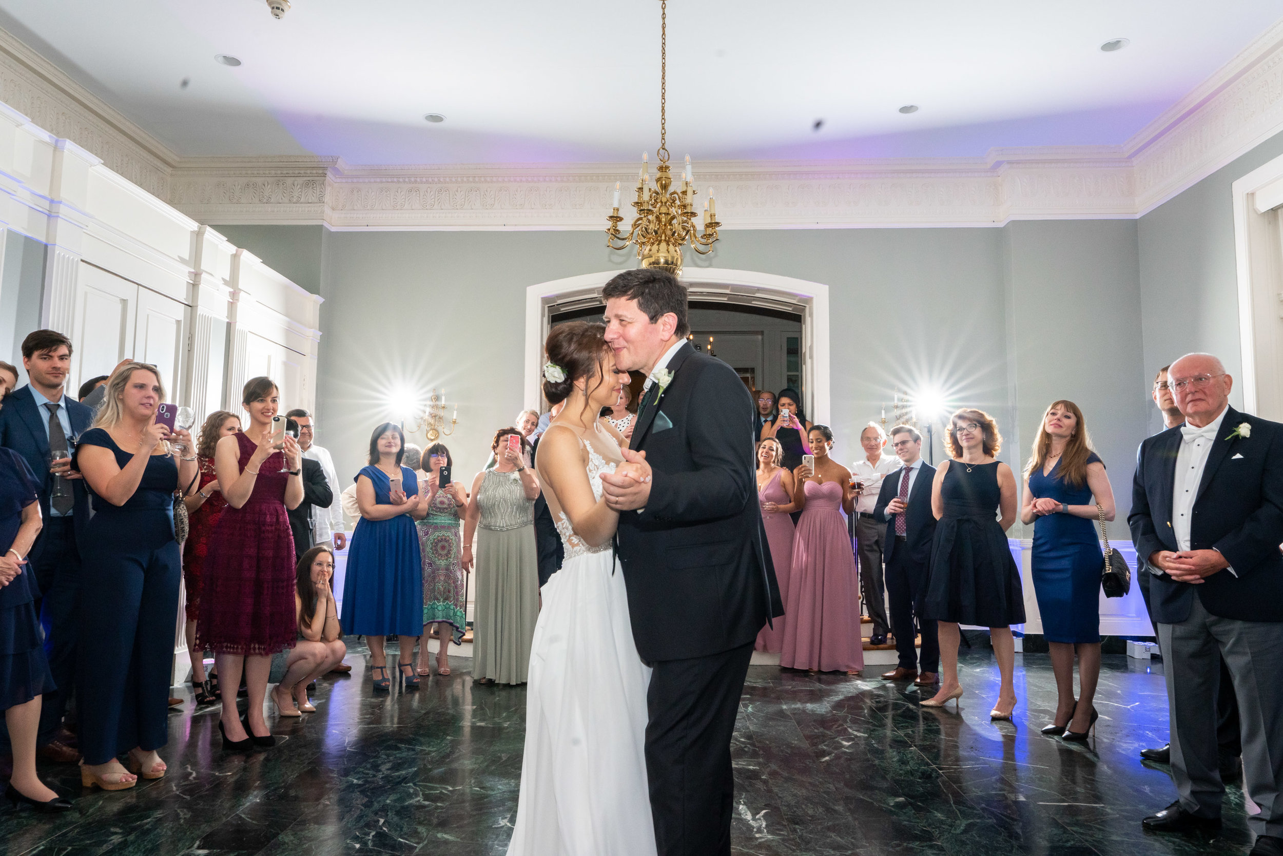 Emotional Father daughter dance in ballroom at Rockville wedding venue Glenview Mansion