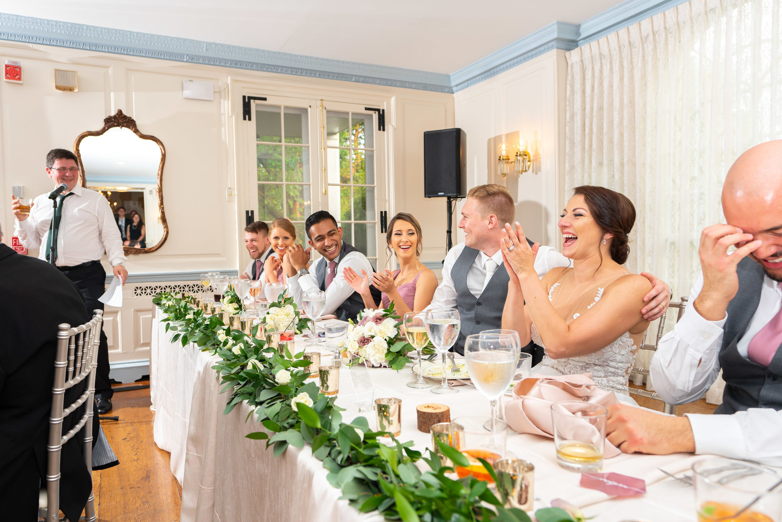 Funny wedding toasts during dinner at Glenview Mansion wedding in Rockville