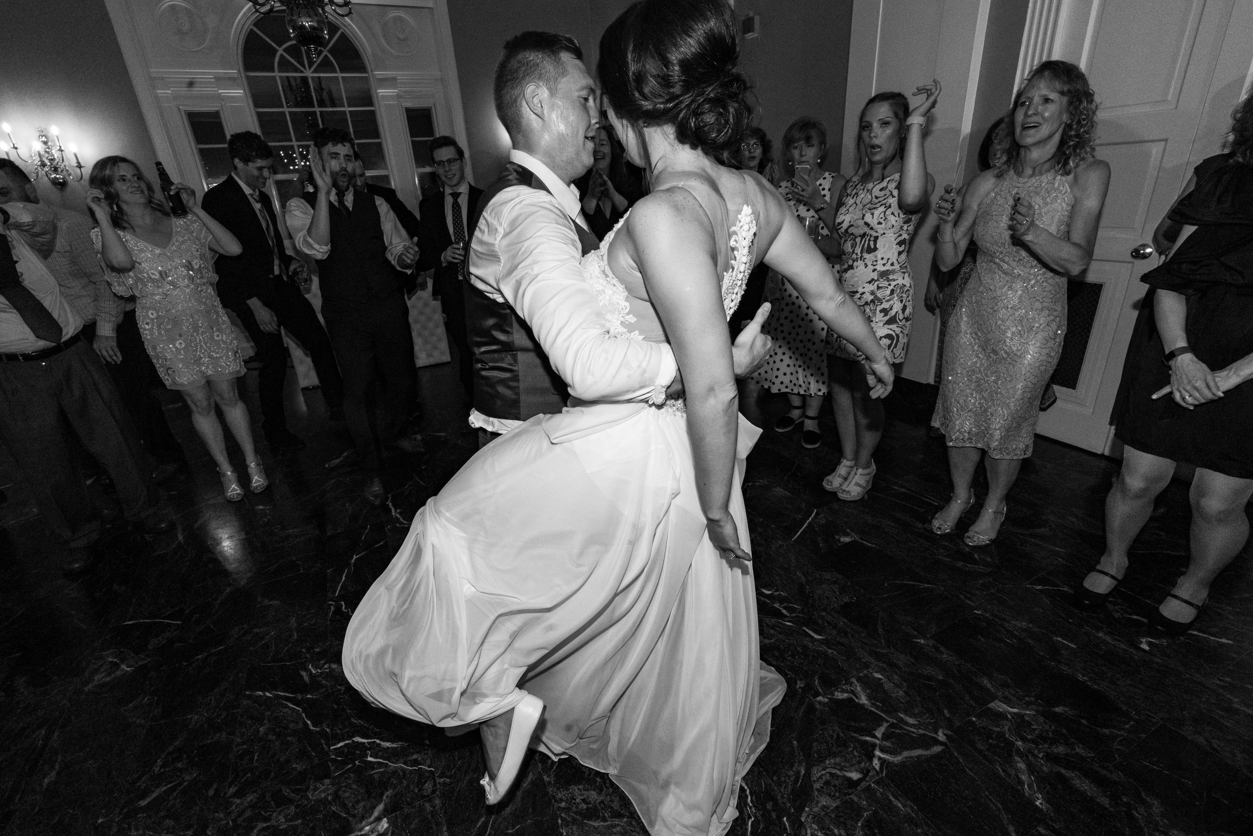 Wedding reception and dance floor at Rockville wedding venue Glenview Mansion