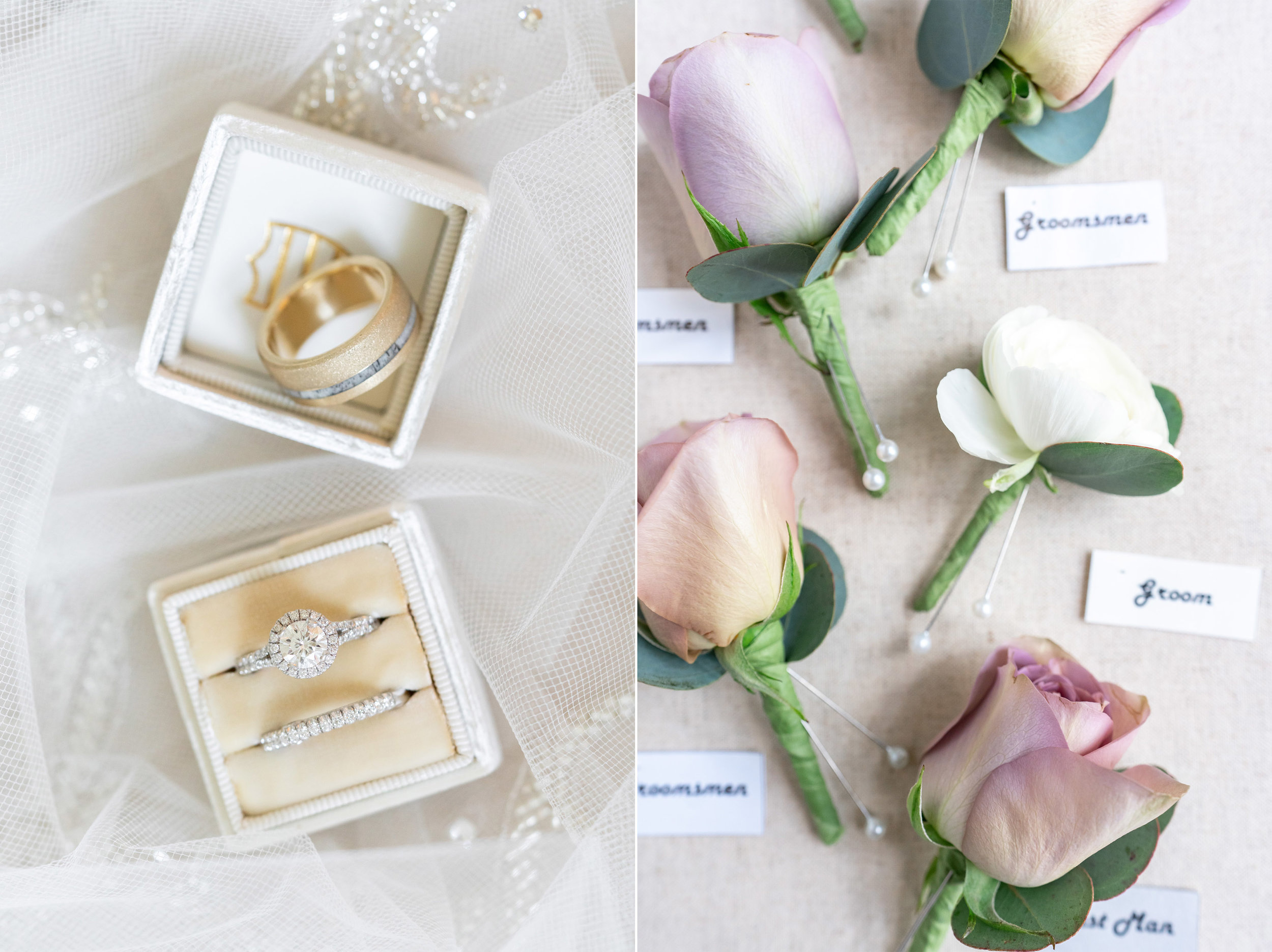 Margaery double Mrs Box in ivory with vintage rose boutonnieres at Glenview Mansion
