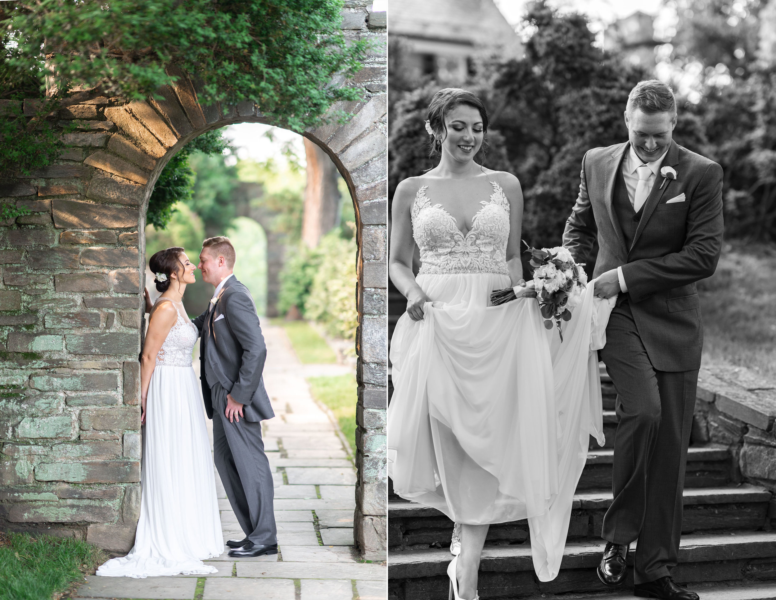 Bride and groom classic wedding photo portraits at Glenview Mansion steps