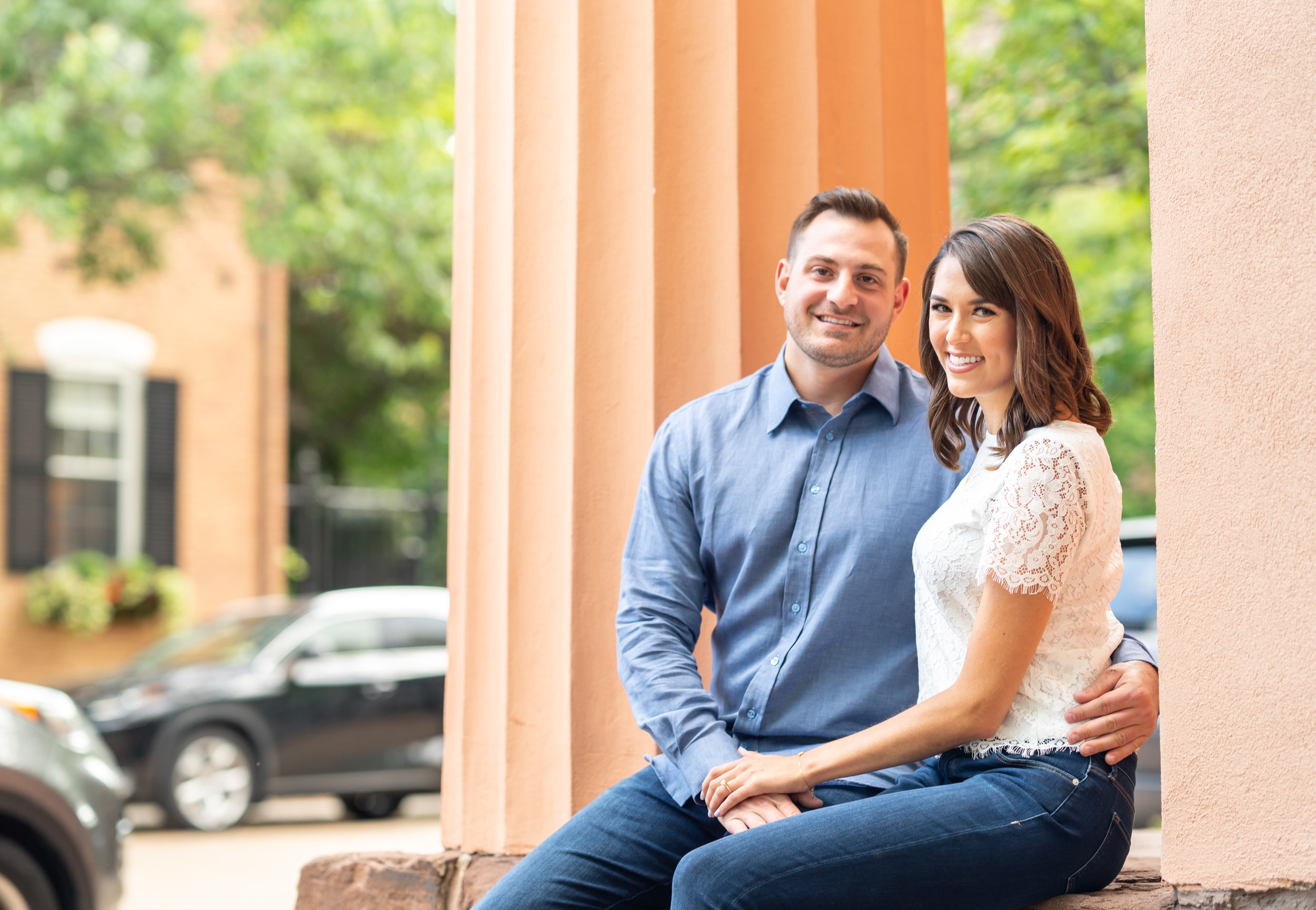 engagement photo at athenaeum in alexandria
