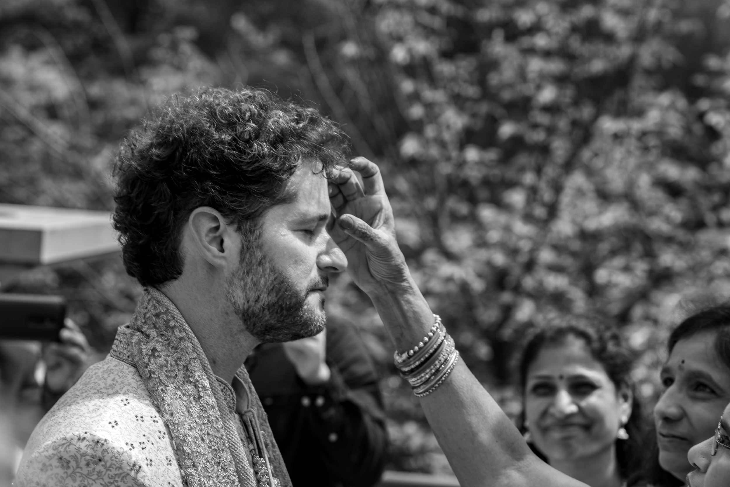 Groom during the baraat before indian wedding ceremony in maryland
