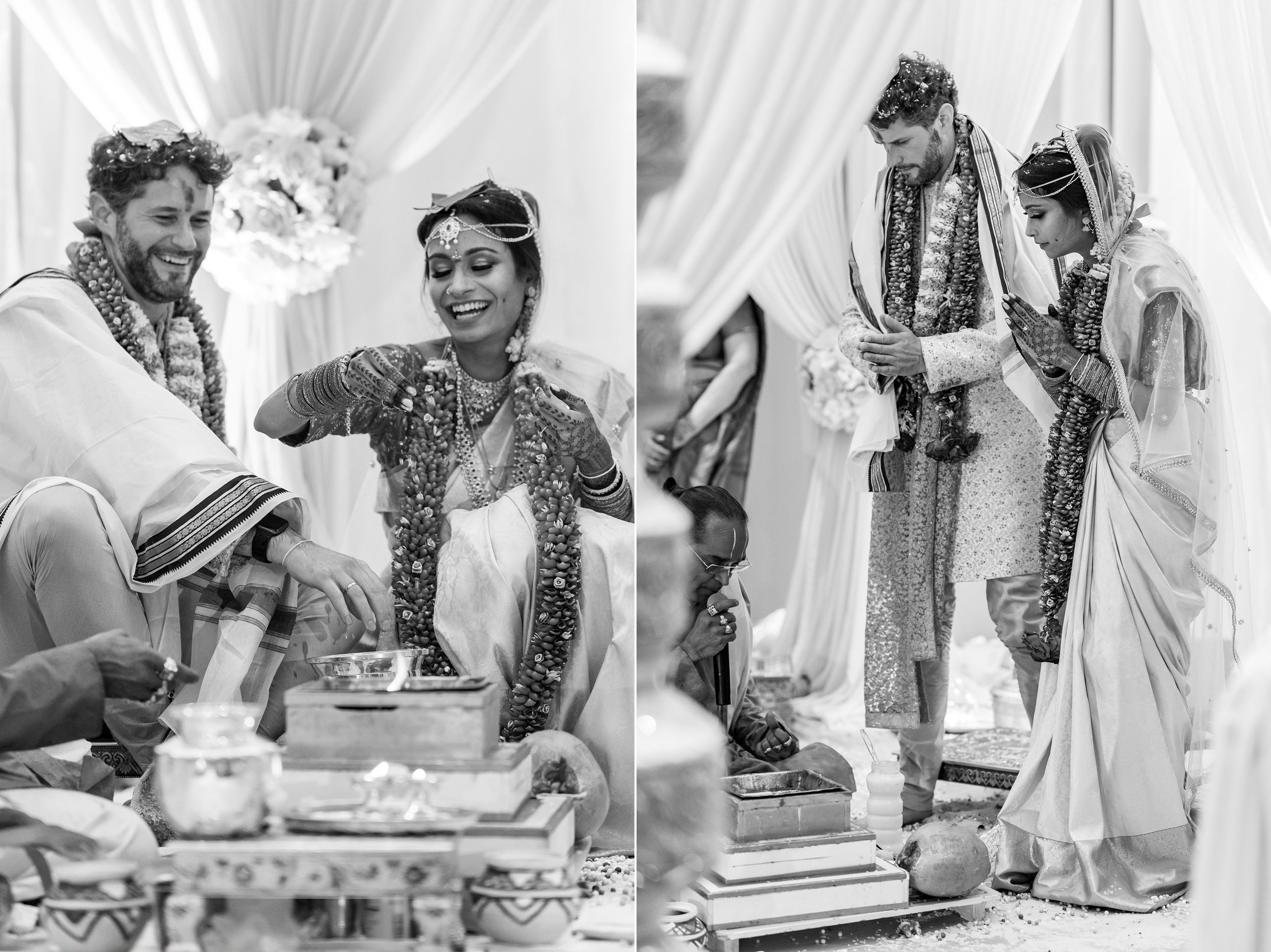 black and white images of bride and groom during indian wedding ceremony photos in dc