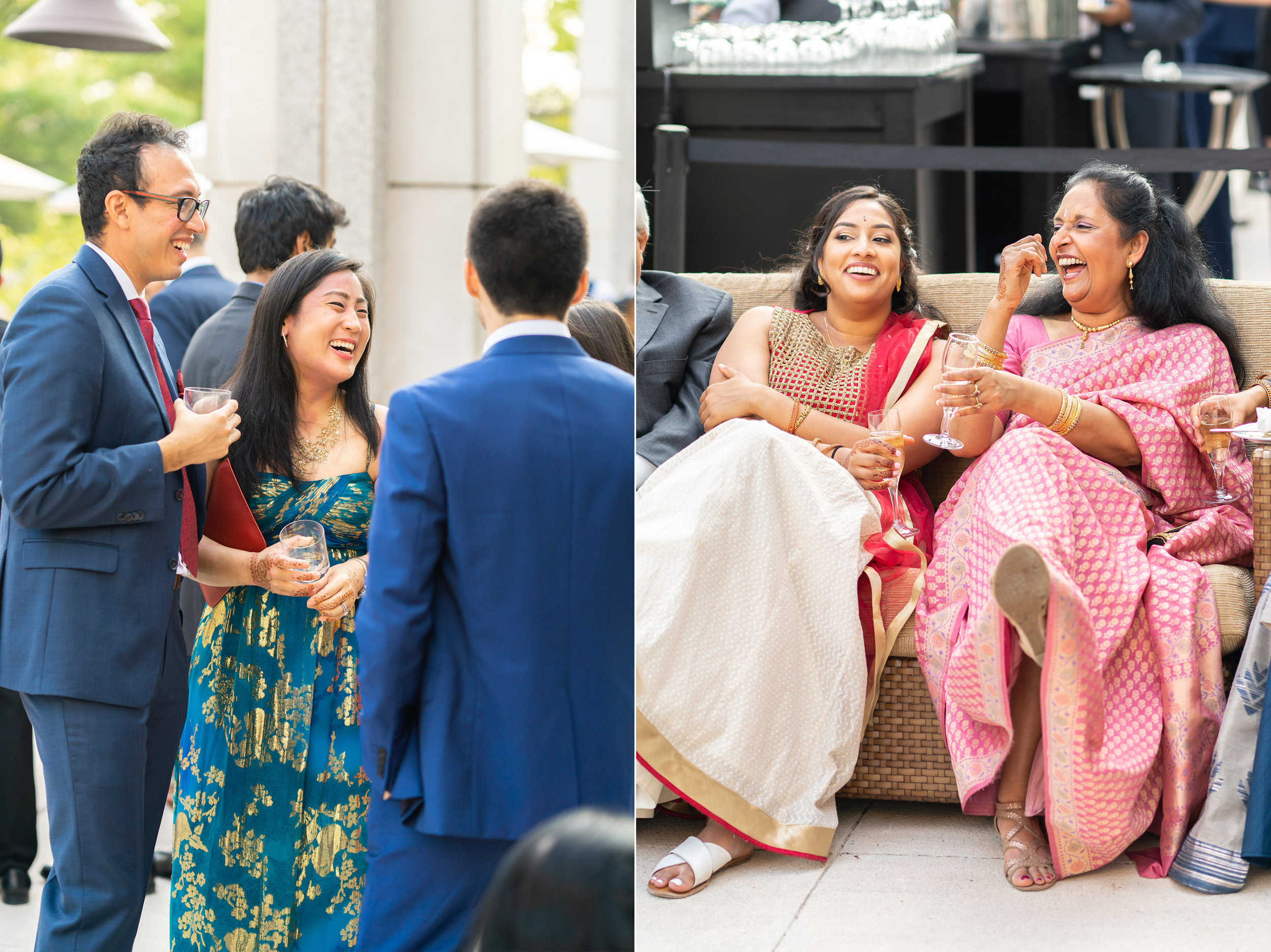 Wedding guests laughing during cocktail hour at bethesda north marriott