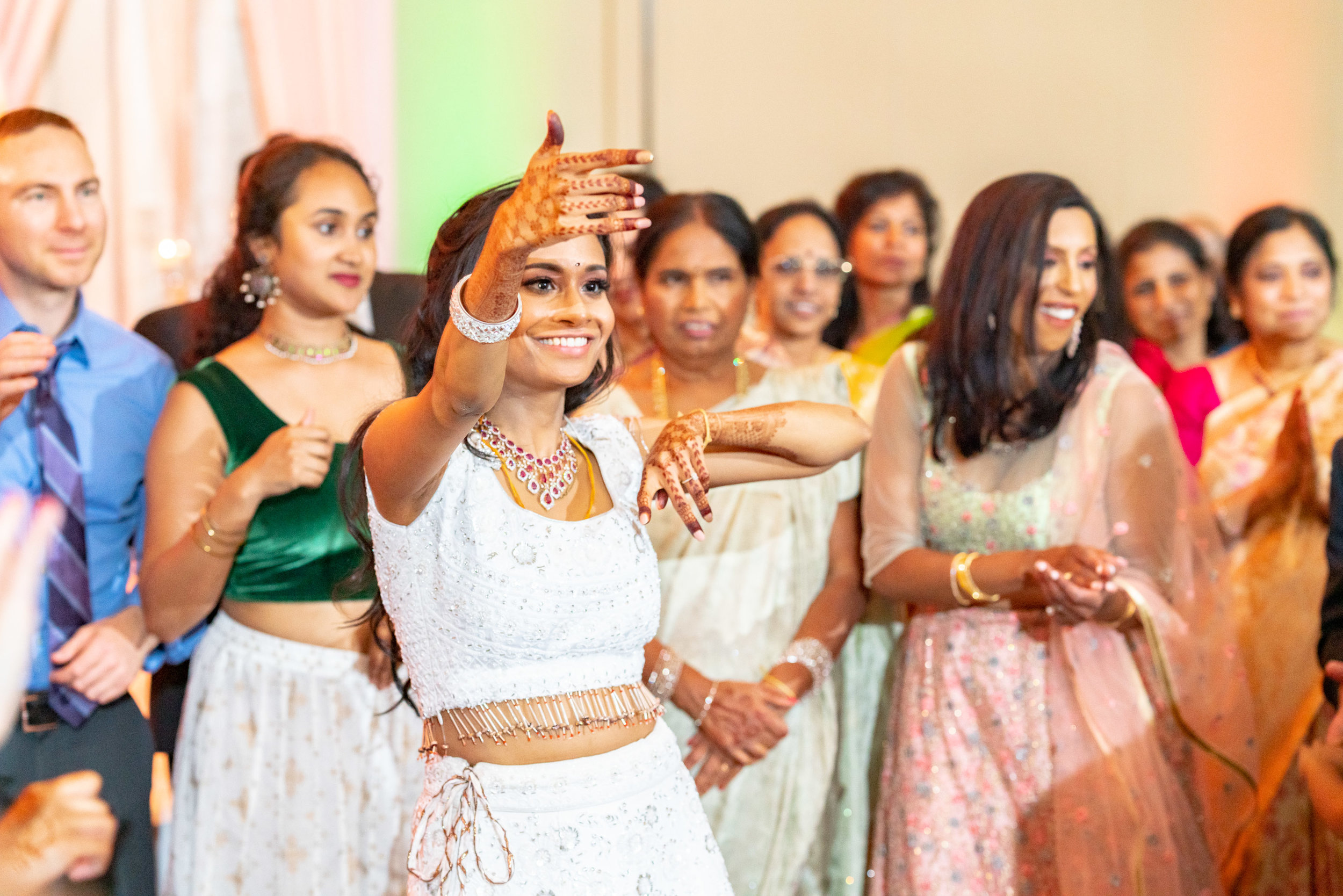 Bride on the dance floor at indian wedding at bethesda north marriott