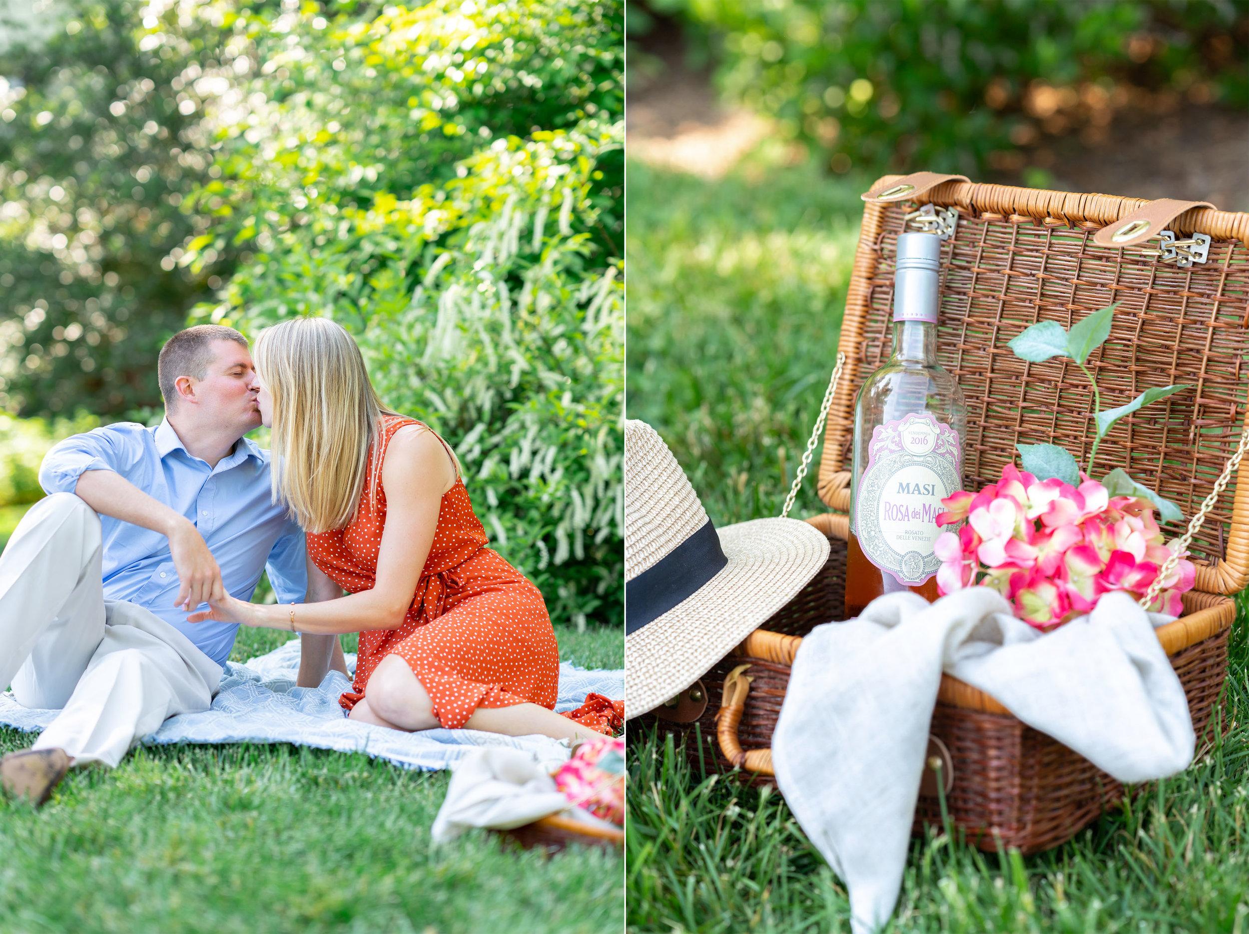 Couple having picnic at William Paca House engagement photos
