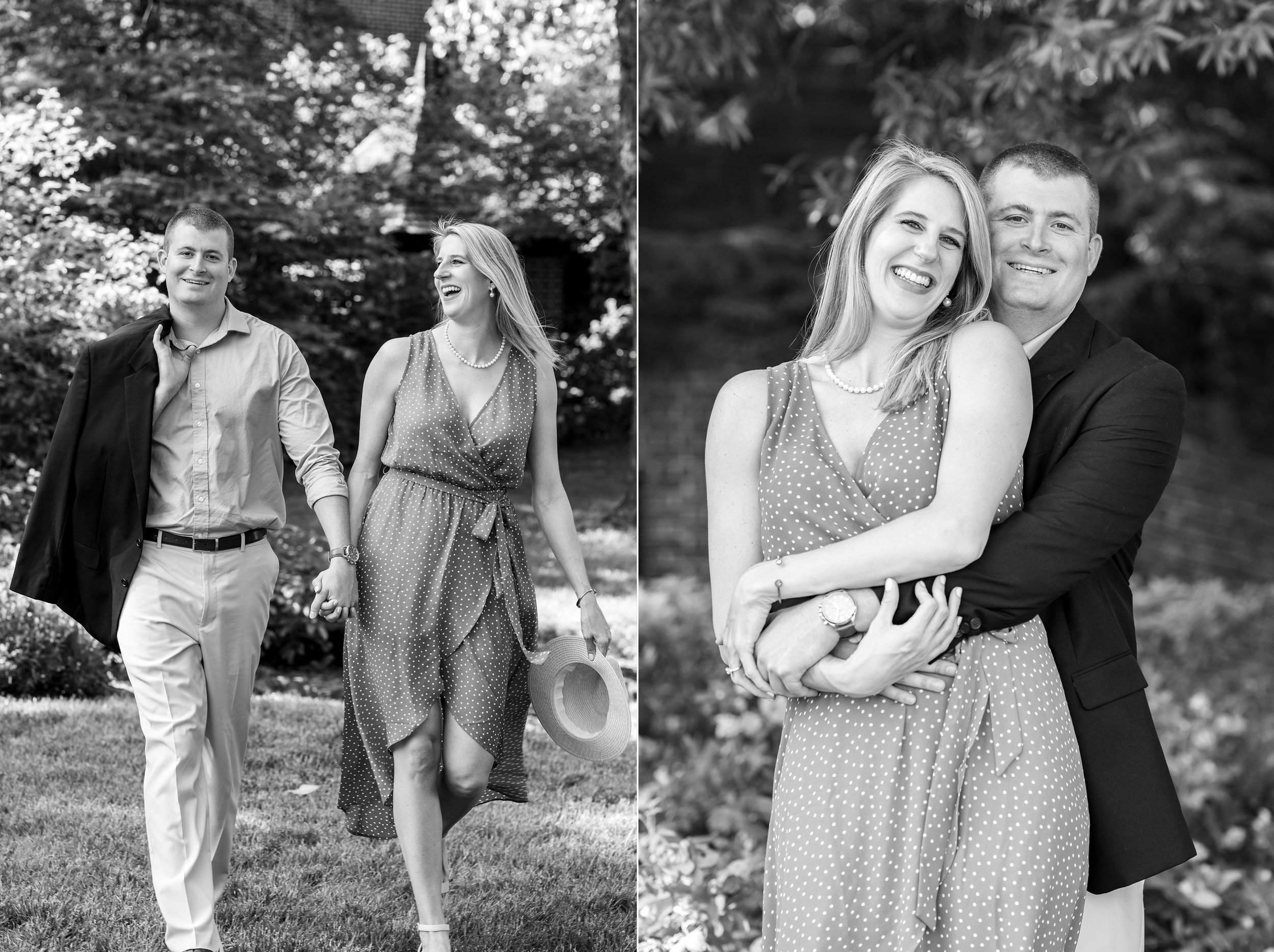 Couple laughing during engagement photos at William Paca House